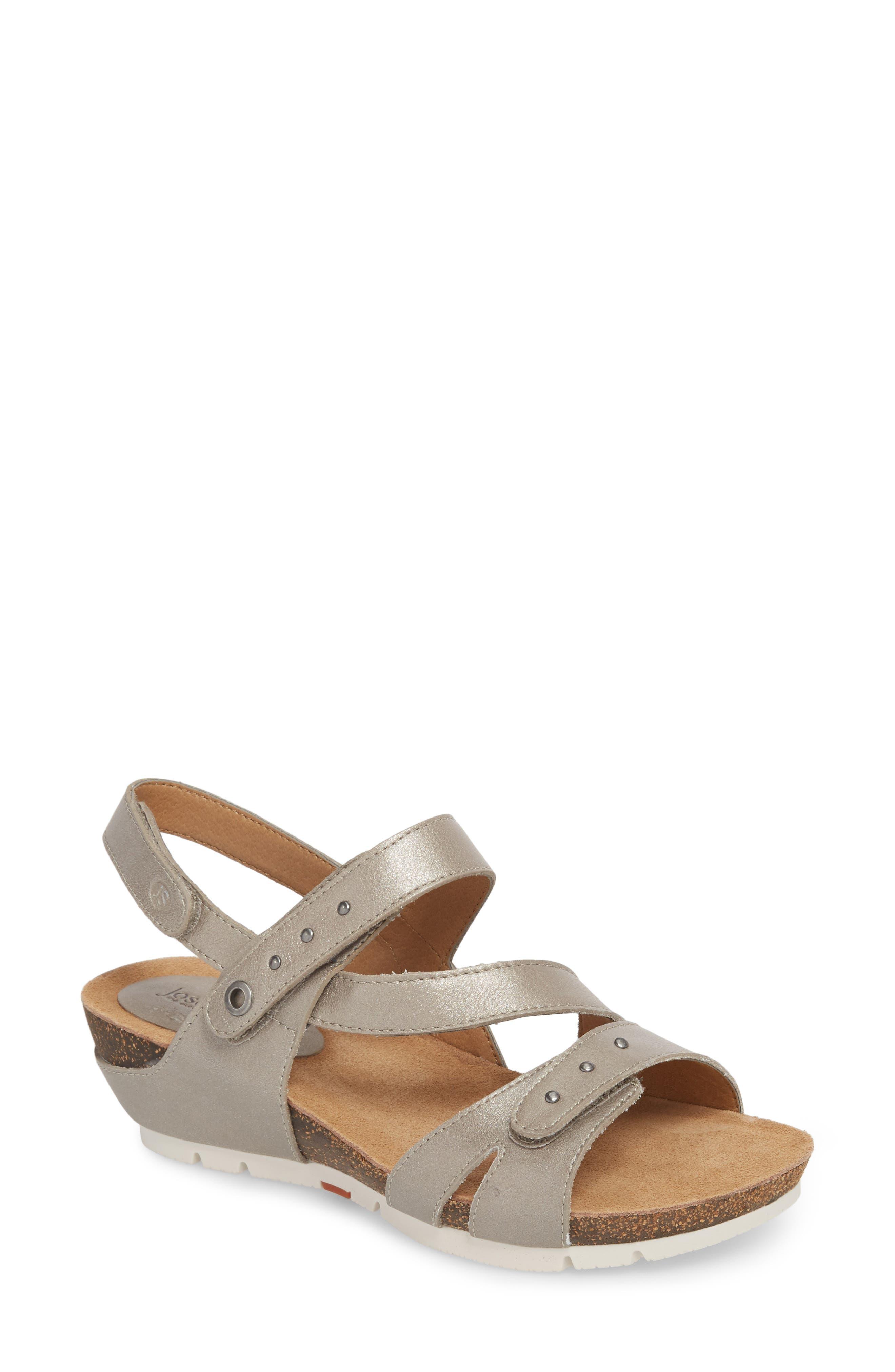 Hailey 33 Sandal,                         Main,                         color, PLATINUM LEATHER