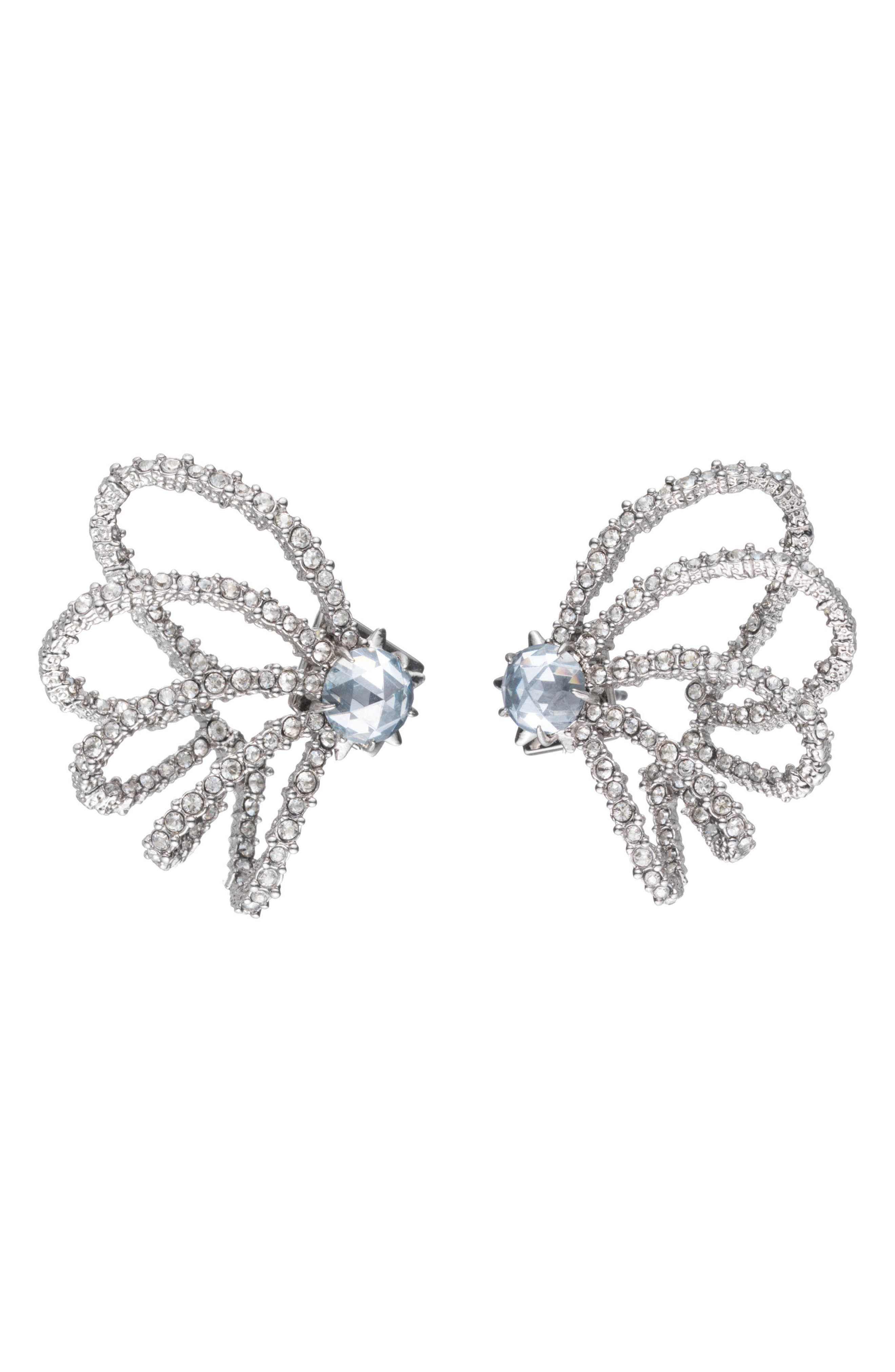 ALEXIS BITTAR Silvertone Crystal Lace Orbiting Post Earrings in Gold/ Crystal
