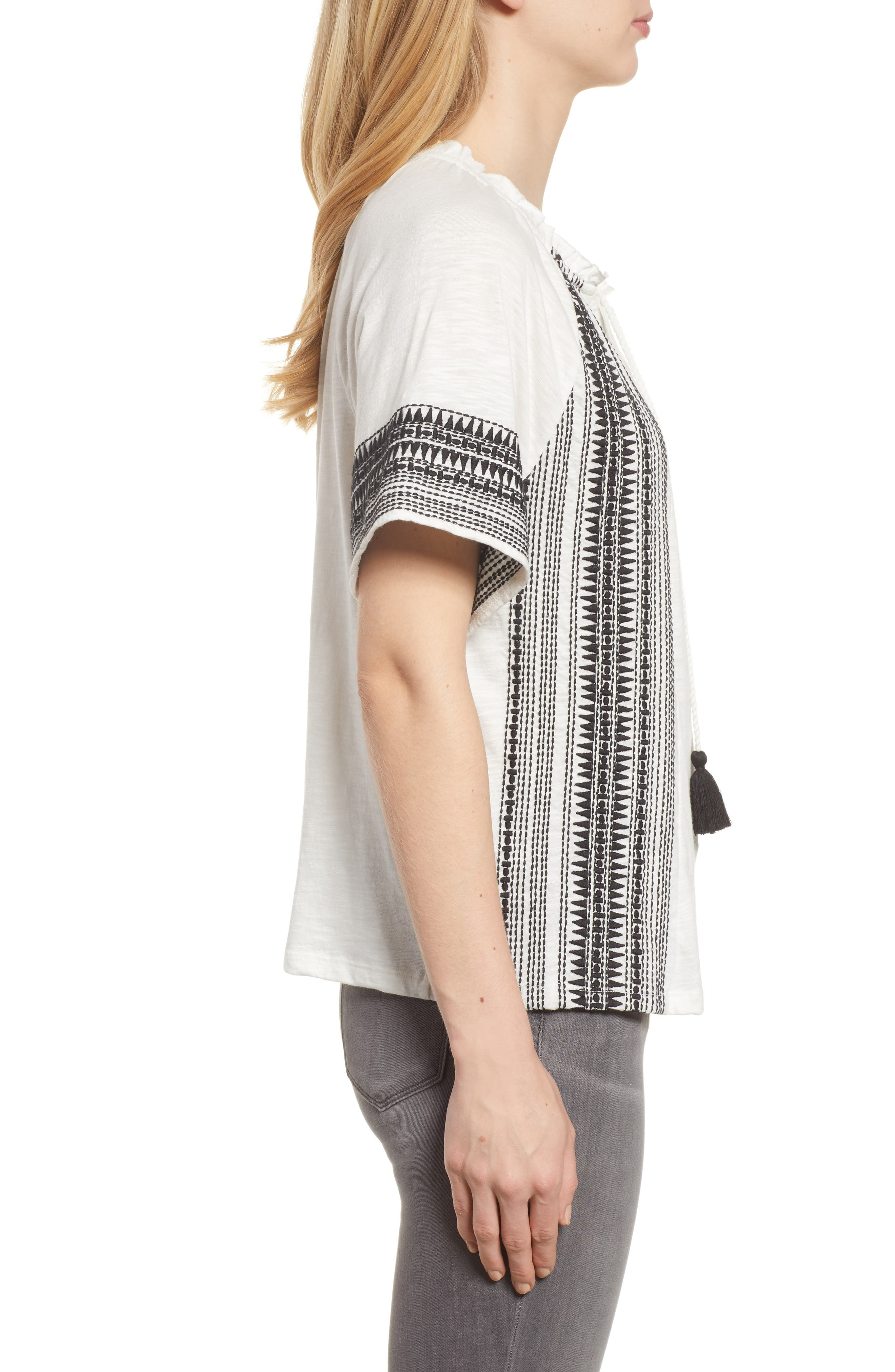 Embroidered Border Peasant Top,                             Alternate thumbnail 9, color,