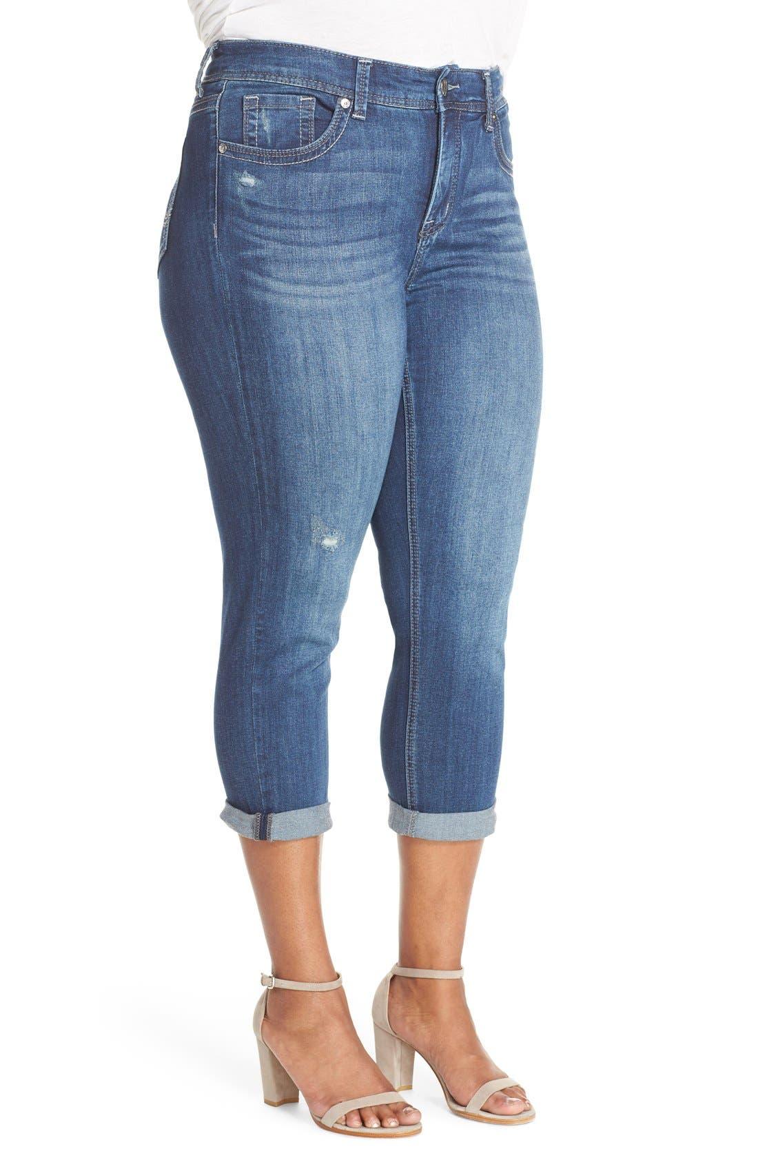 Stretch Crop Jeans,                             Alternate thumbnail 6, color,                             428