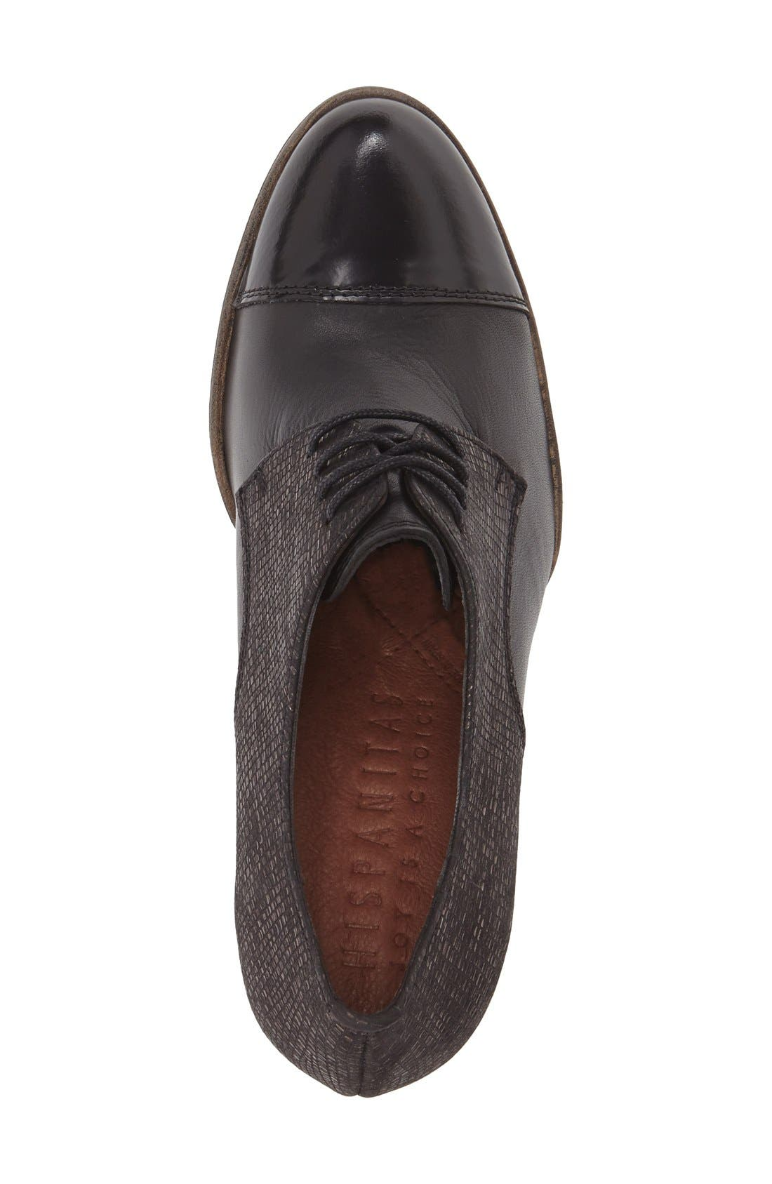 'Viv' Cap Toe Pump,                             Alternate thumbnail 3, color,                             BLACK LEATHER