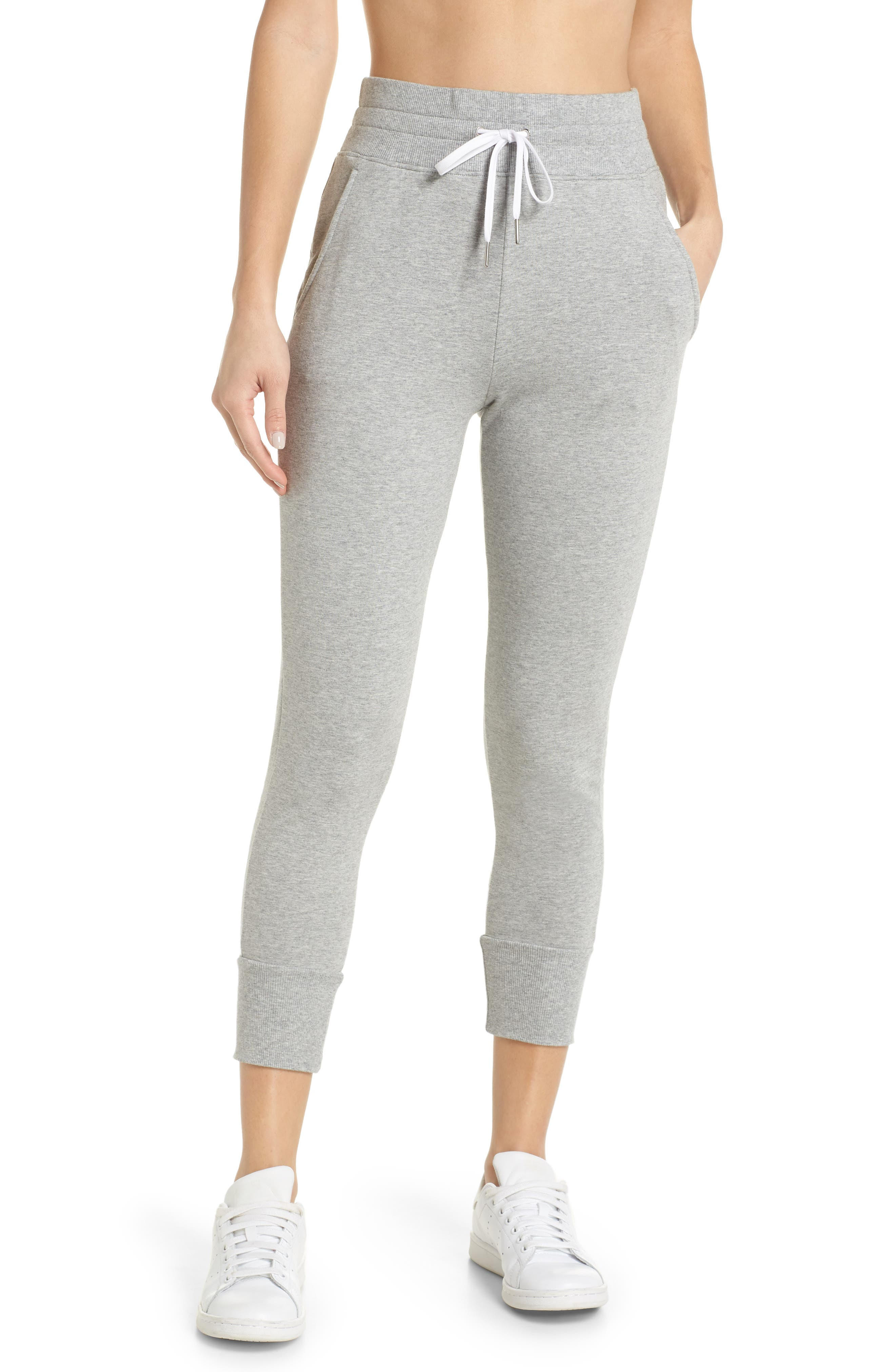 Repeat High Waist Crop Jogger Pants,                         Main,                         color, GREY QUIET HEATHER
