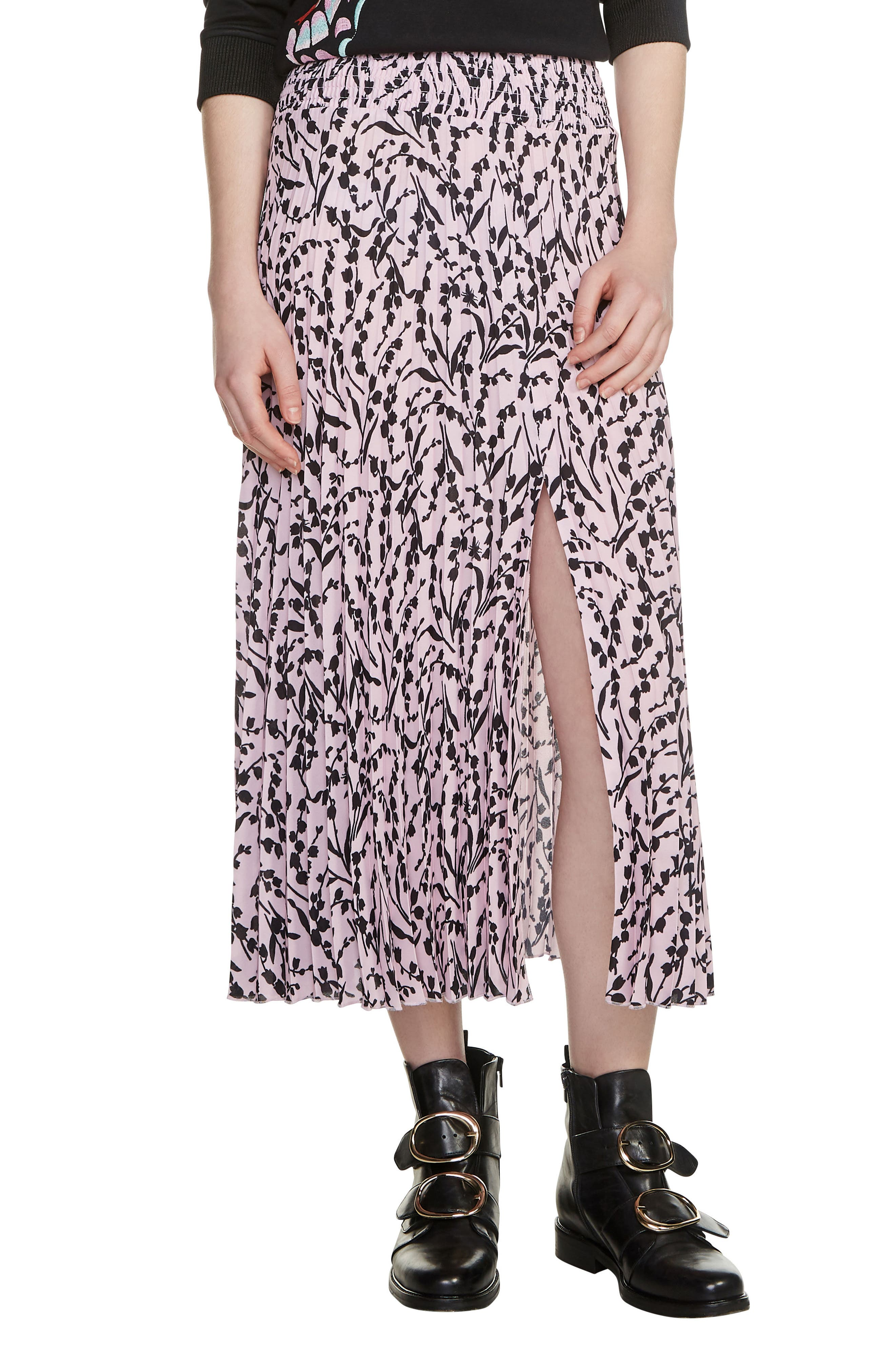 Javina Pleated Midi Skirt,                             Main thumbnail 1, color,
