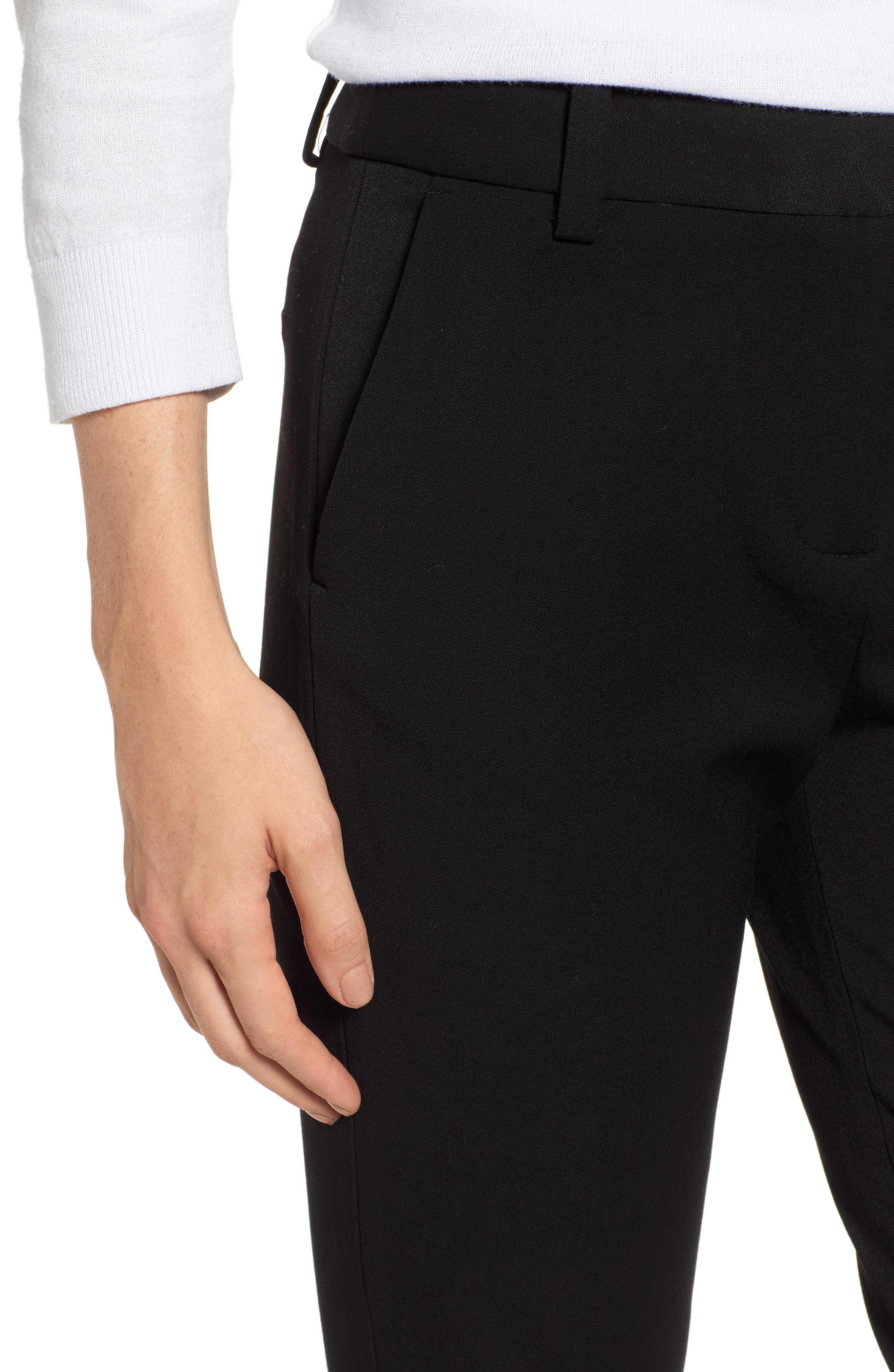 2-Way Stretch Twill Straight Pants,                             Alternate thumbnail 4, color,                             RICH BLACK