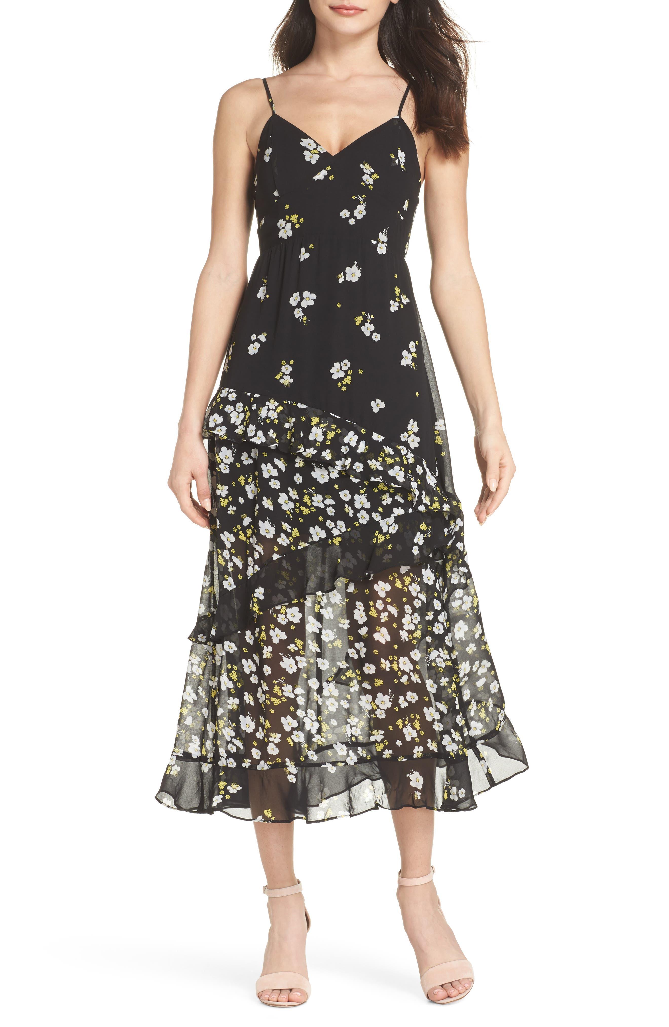 Ditzy Floral & Ruffle Chiffon Dress,                         Main,                         color, 001