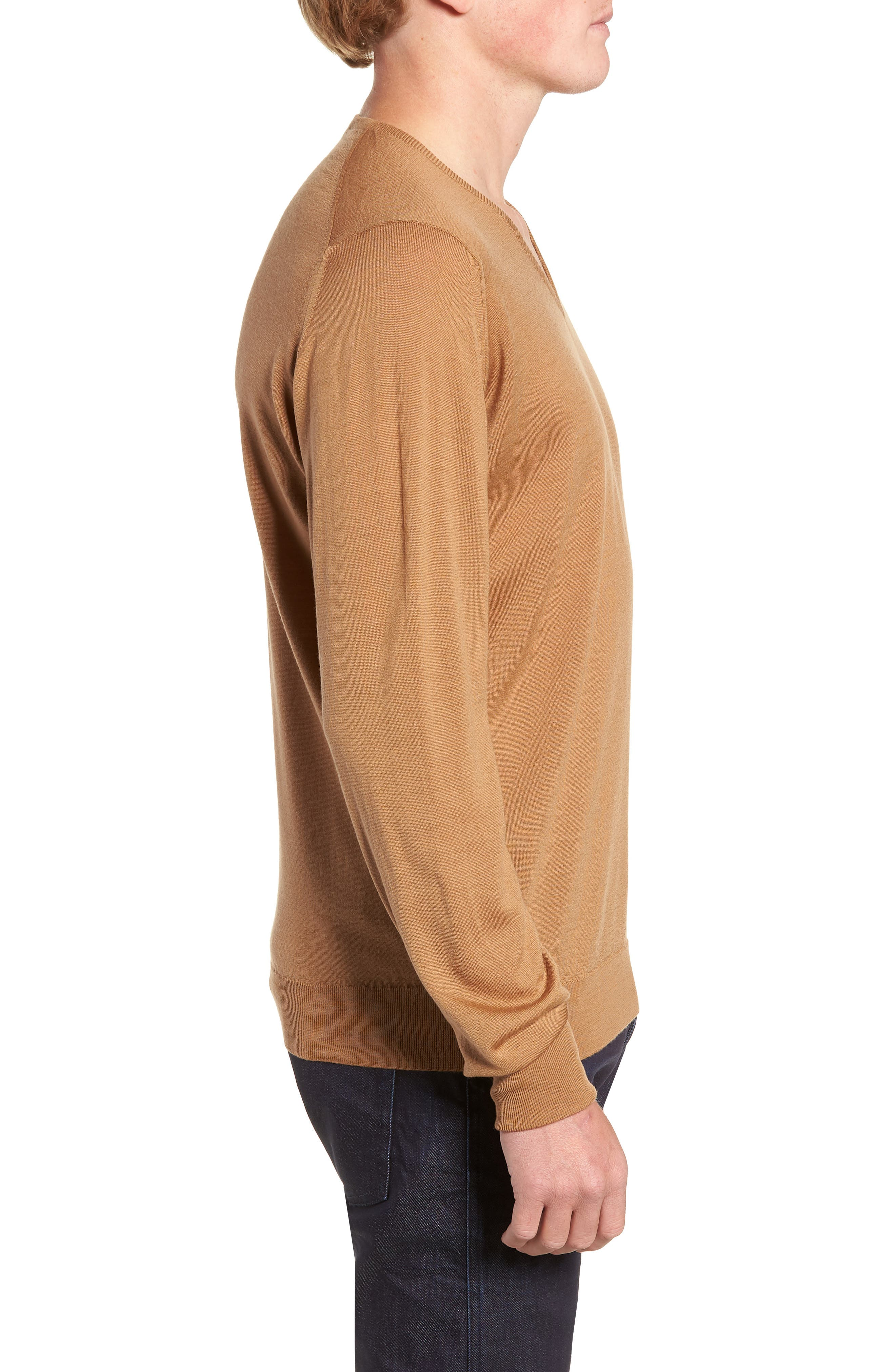 'Bobby' Easy Fit V Neck Wool Sweater,                             Alternate thumbnail 3, color,                             251
