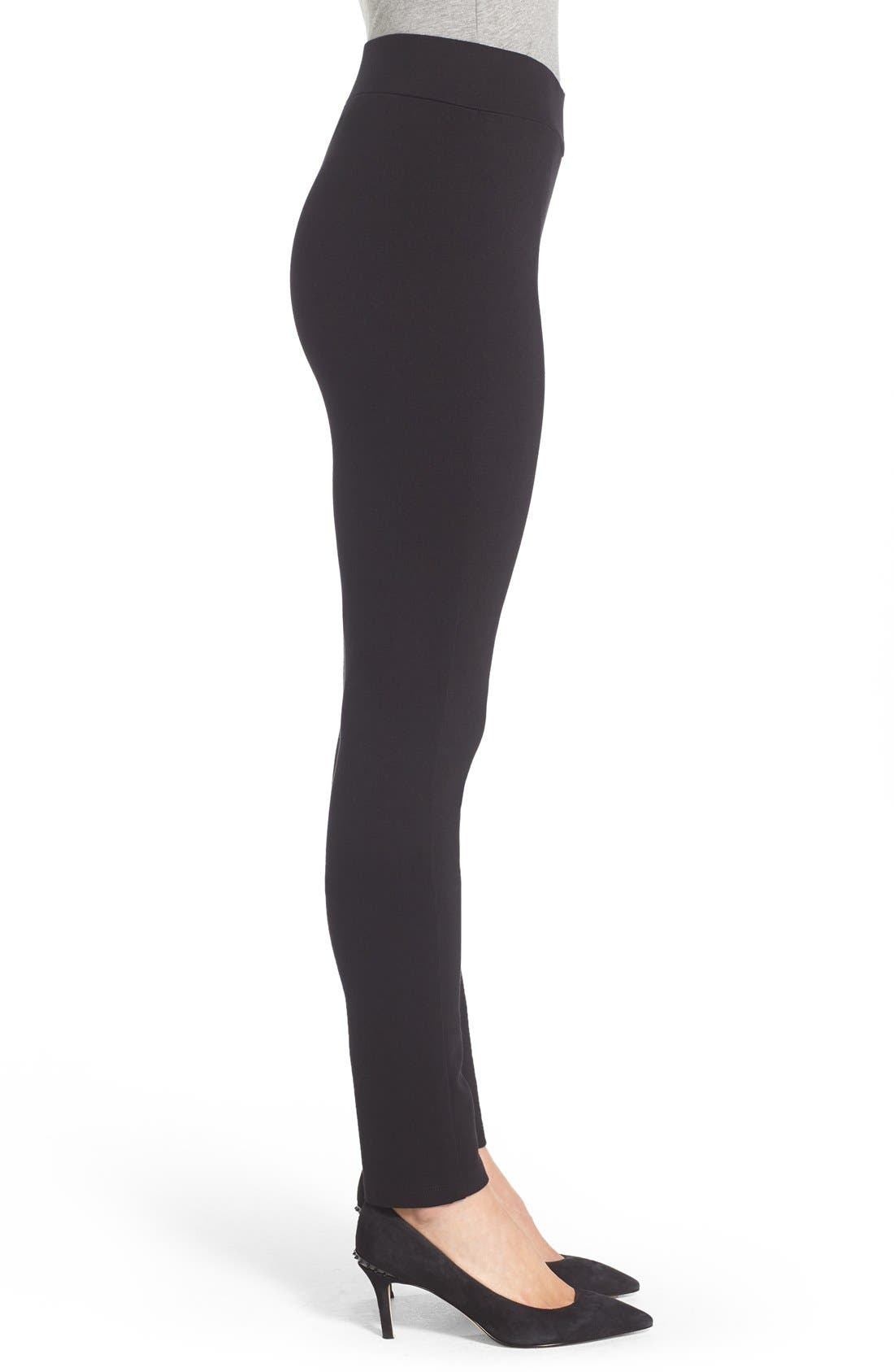 Stretch 'Jodie' Ponte Leggings,                             Alternate thumbnail 3, color,                             001