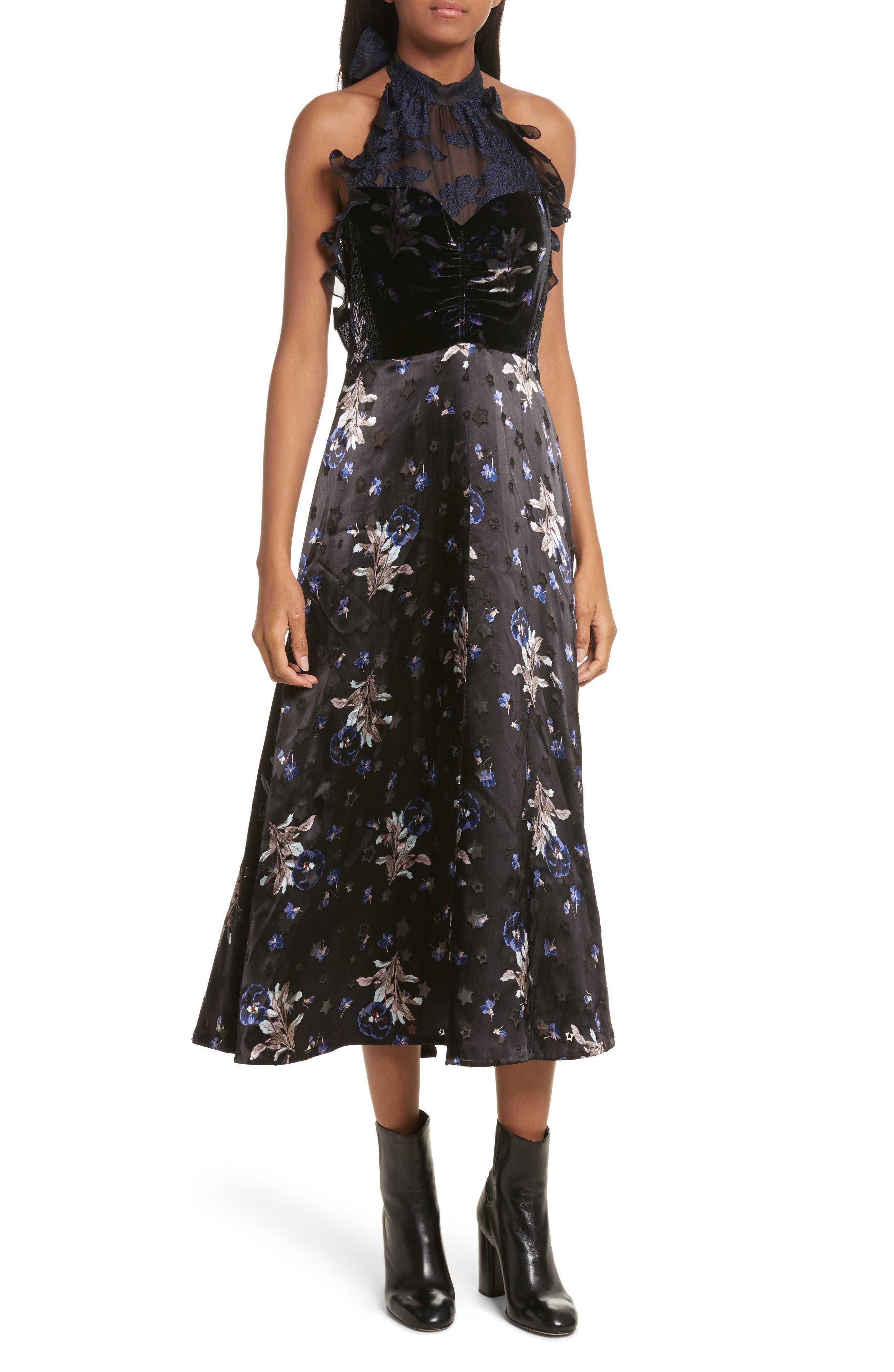 Violet Velvet Halter Dress,                             Main thumbnail 1, color,