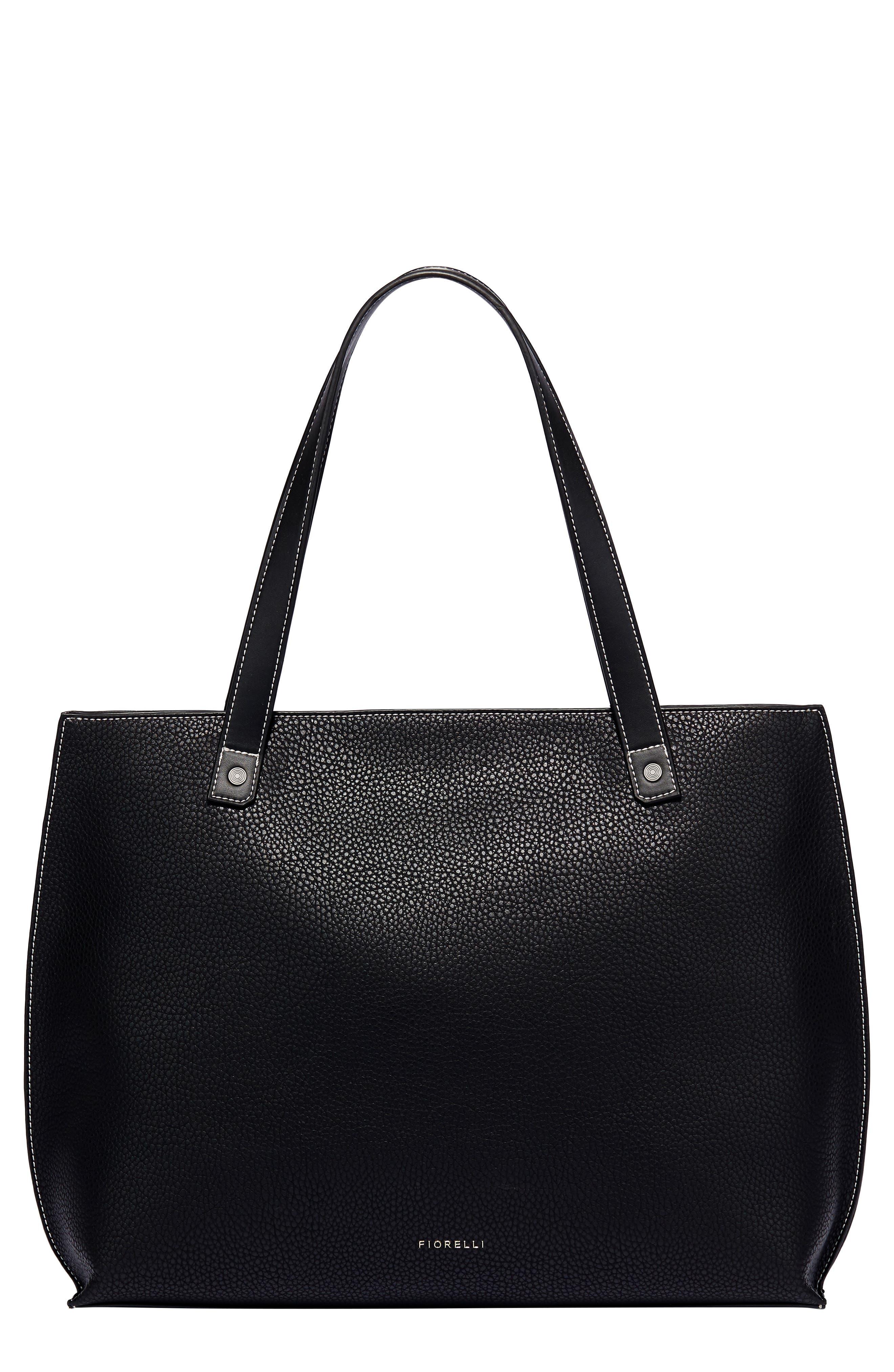 Large Hampton Faux Leather Tote,                             Main thumbnail 1, color,                             BLACK