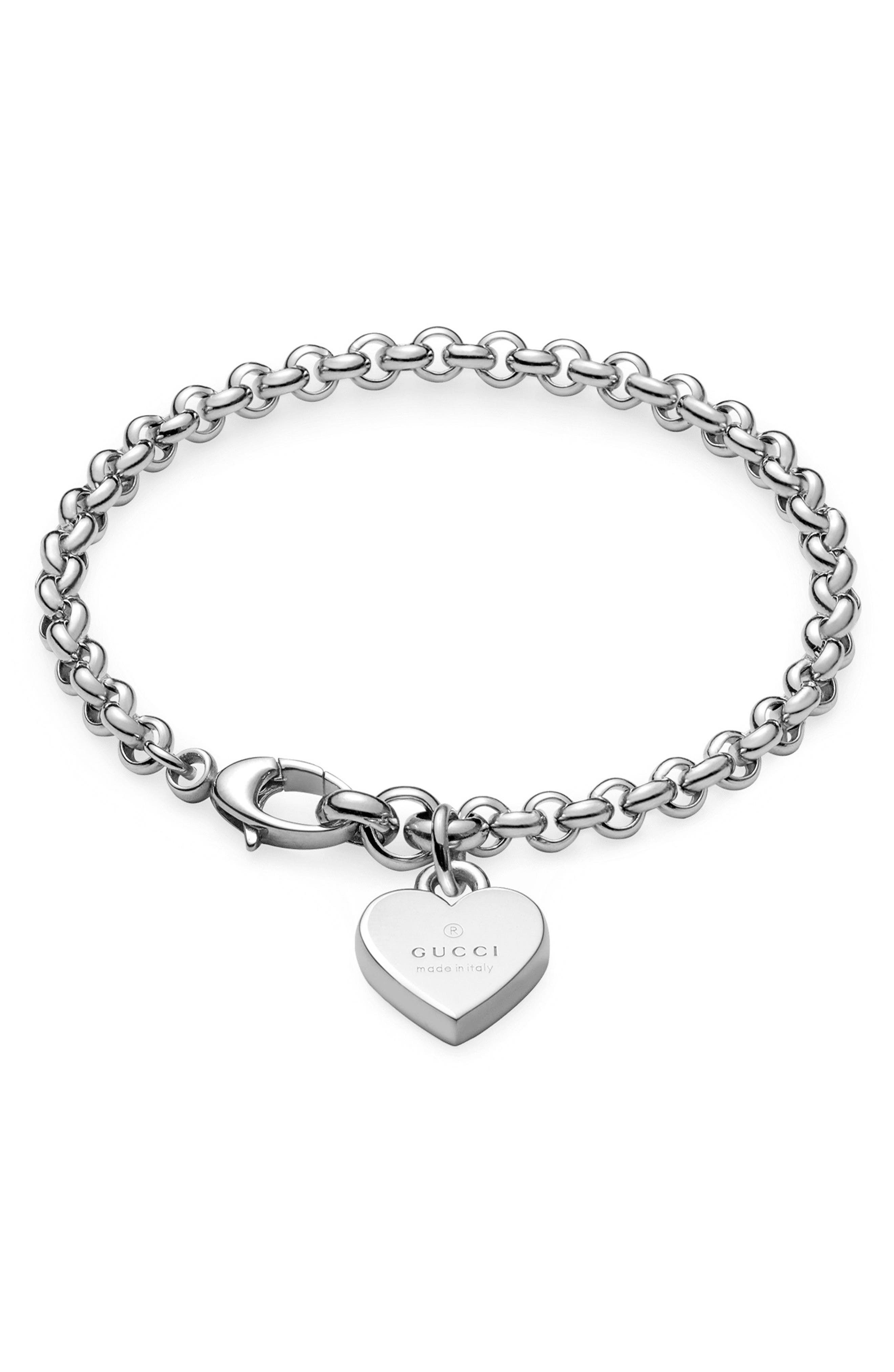 Silver Heart Charm Bracelet,                             Main thumbnail 1, color,                             040