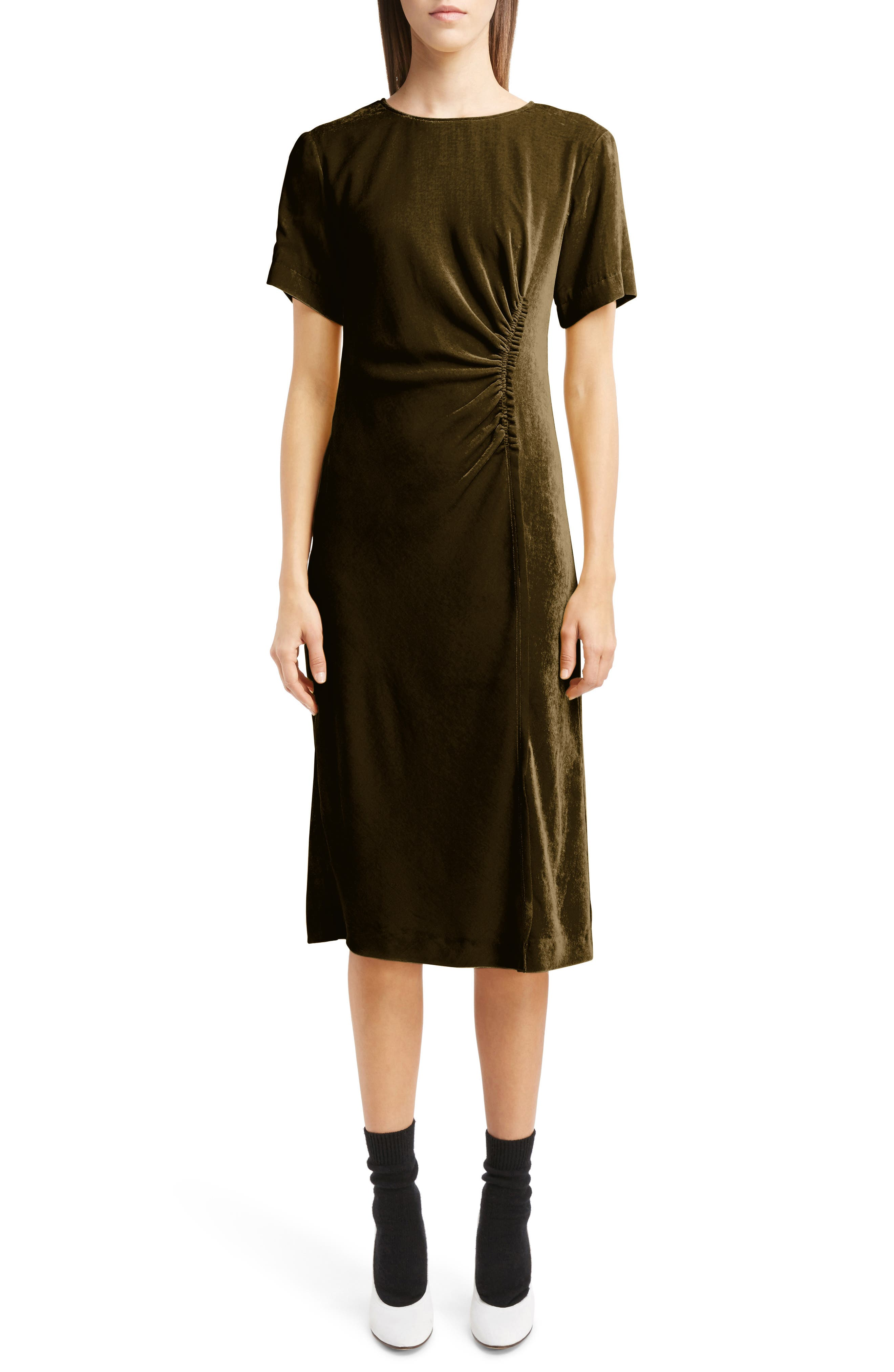 Gathered Velvet Dress,                         Main,                         color, 200