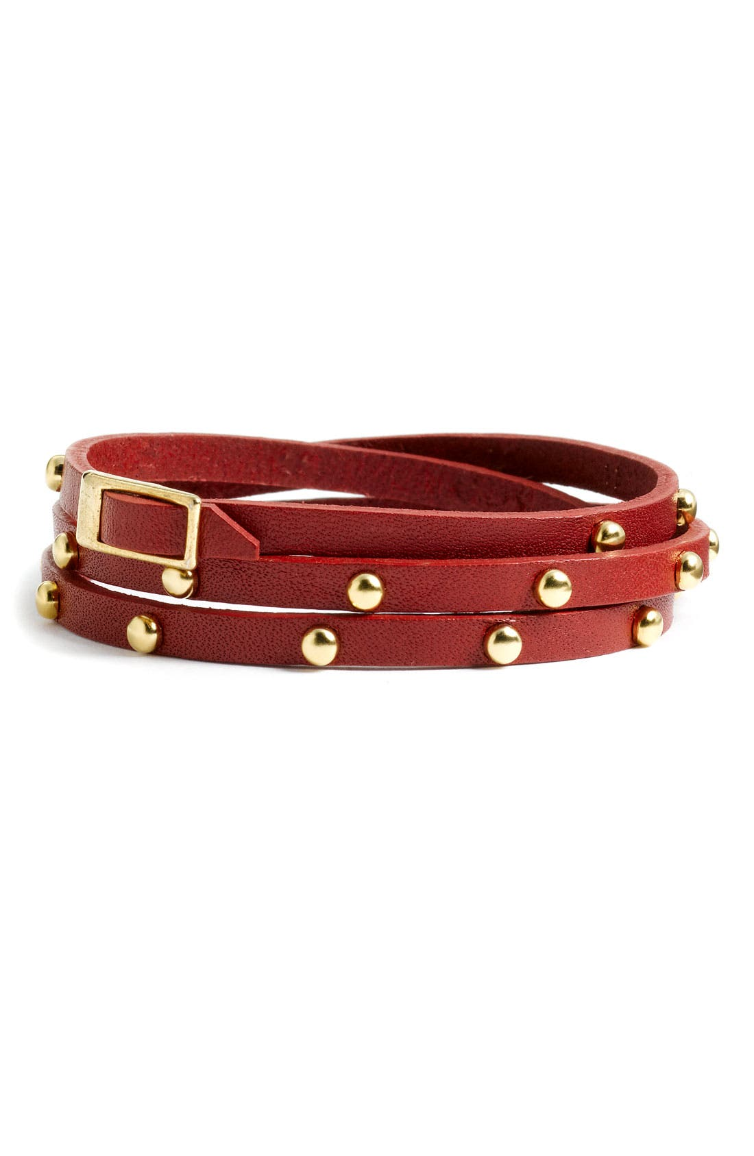 Accessories Leather & Metal Stud Wrap Bracelet,                             Main thumbnail 5, color,