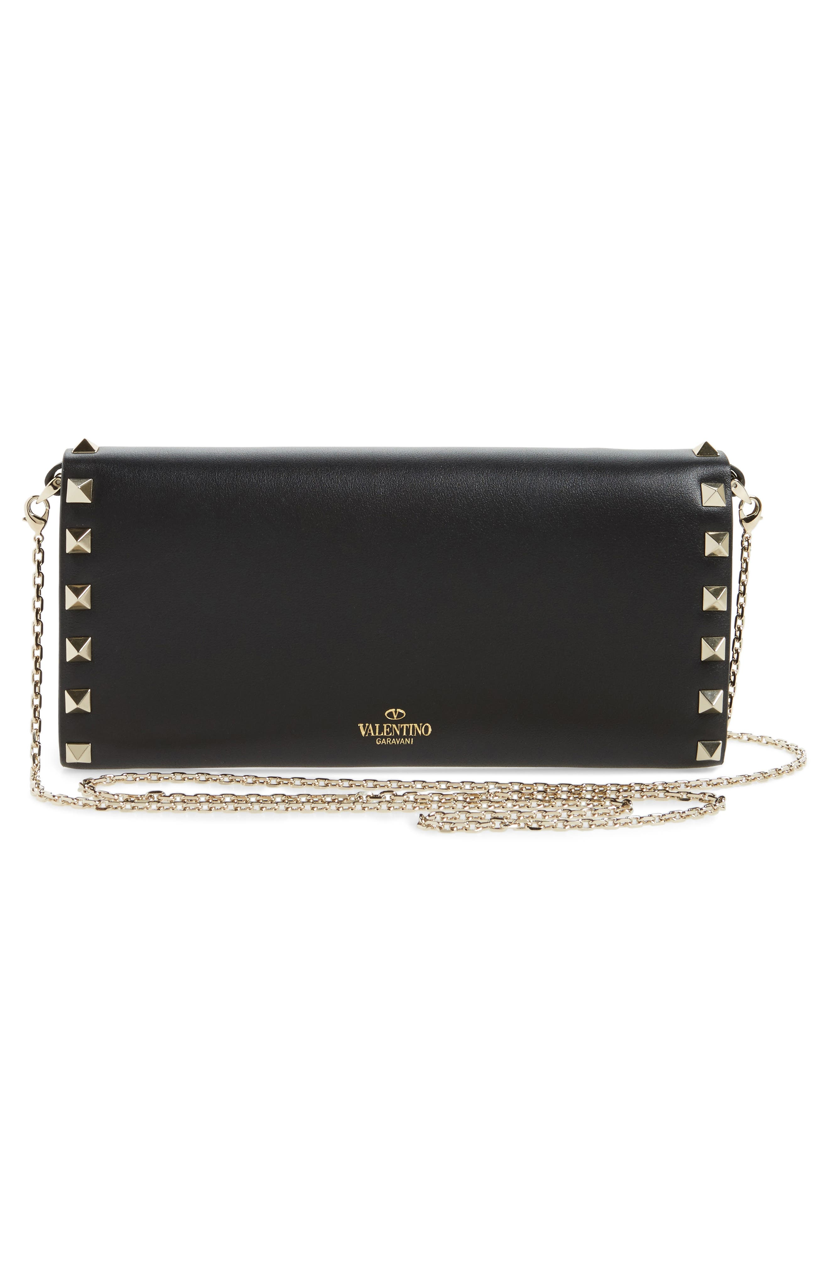 Rockstud Leather Wallet on a Chain,                             Alternate thumbnail 3, color,                             001