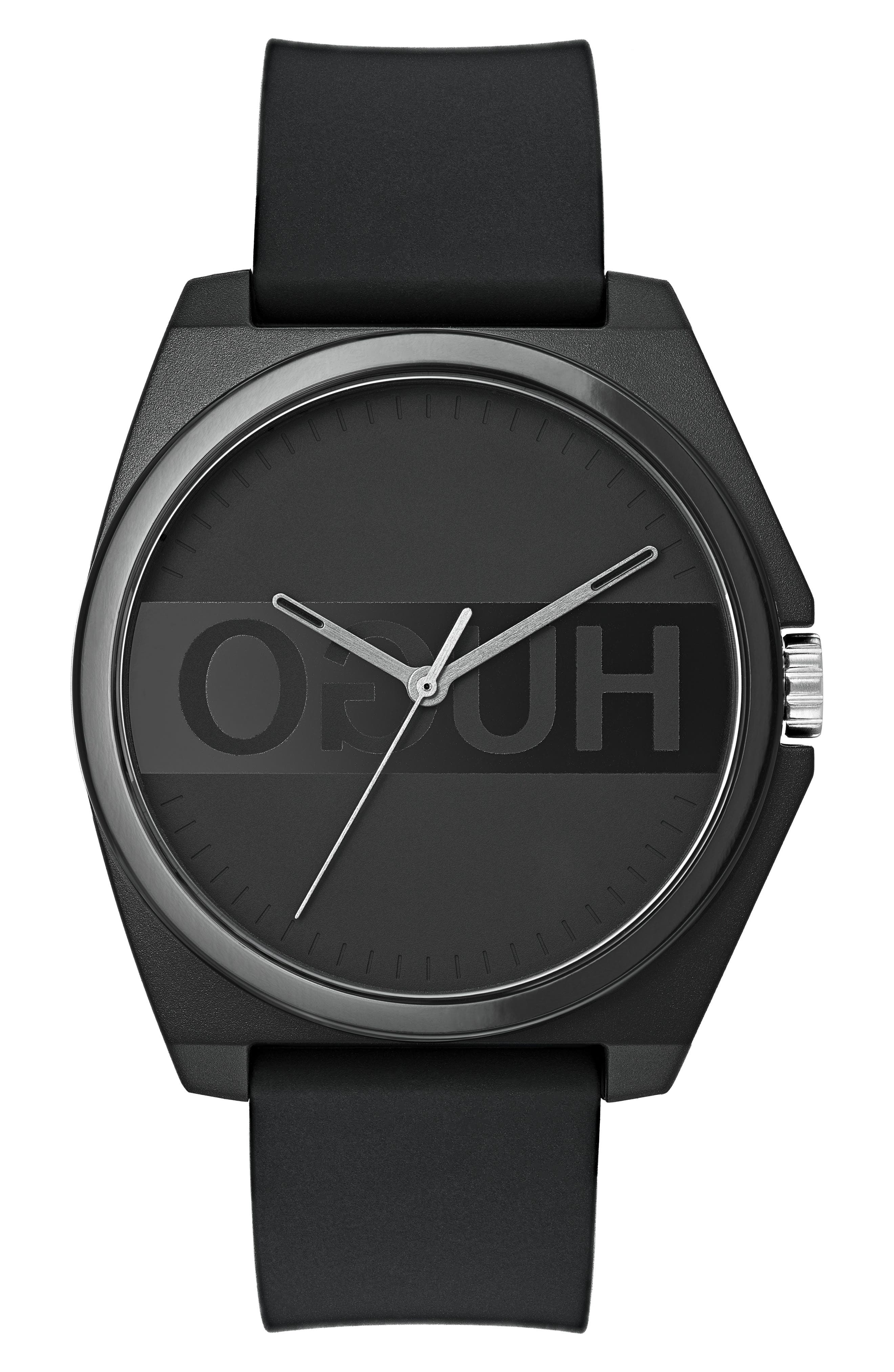 HUGO Play Rubber Strap Watch, 40Mm in Black