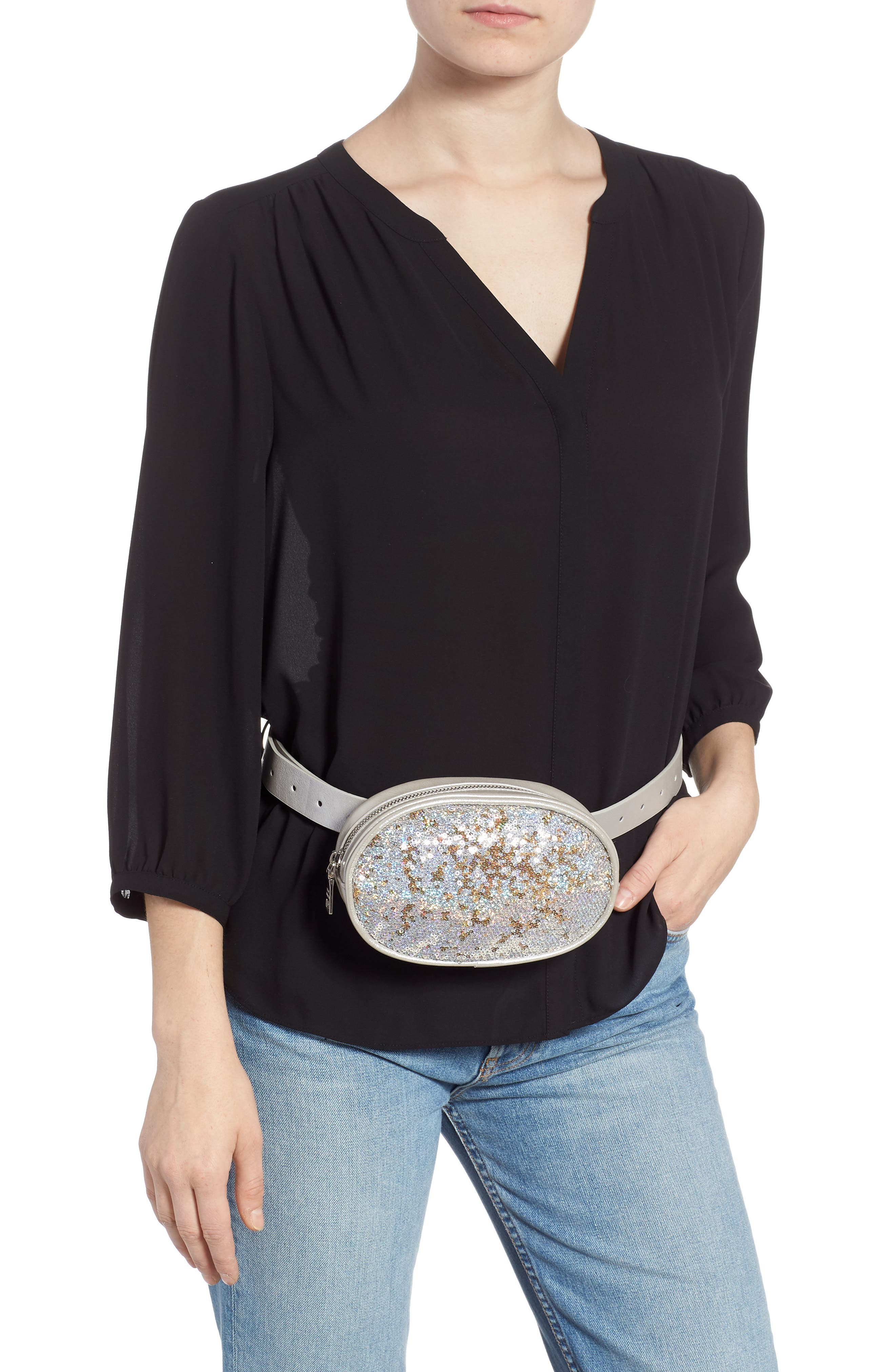 Sequin Faux Leather Belt Bag,                             Alternate thumbnail 3, color,                             SILVER