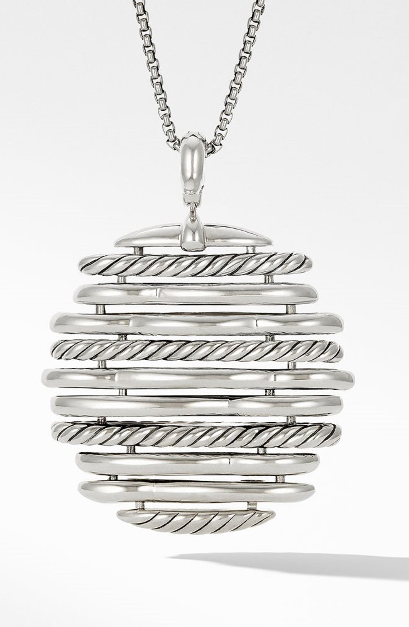 Tides Pendant Necklace with Diamonds,                             Alternate thumbnail 3, color,                             STERLING SILVER/ DIAMOND