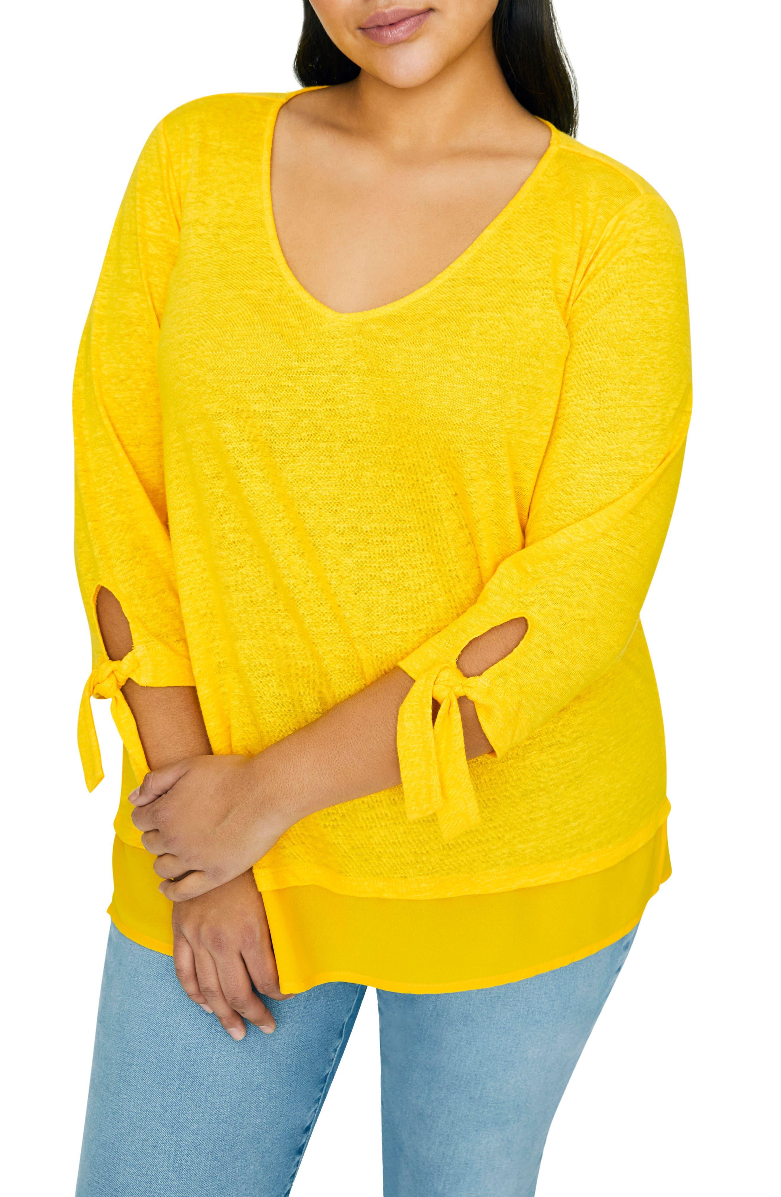 Plus Size Sanctuary Sylvie Tiered Hem Linen Tee, Yellow