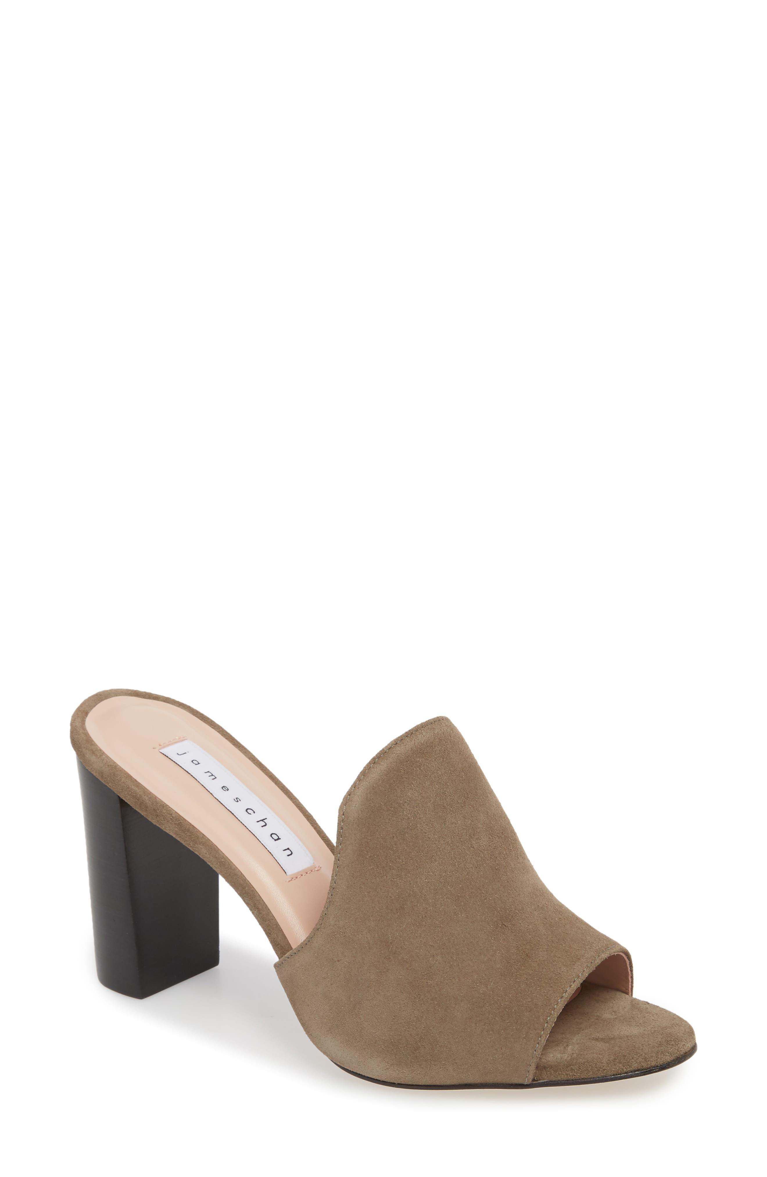 Aimee Block Heel Mule,                         Main,                         color, STONE SUEDE