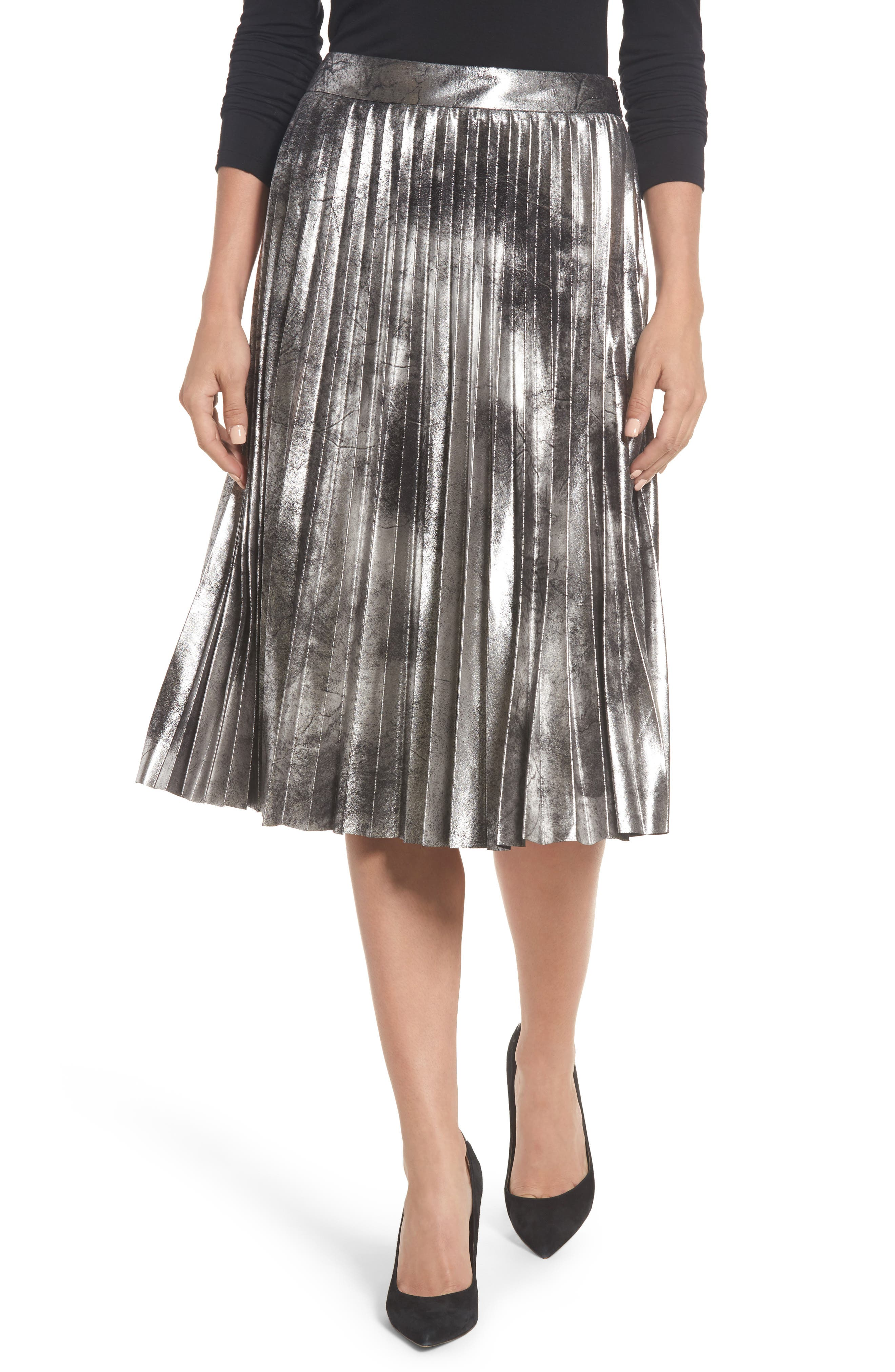Metallic Pleated Skirt,                             Main thumbnail 1, color,                             001