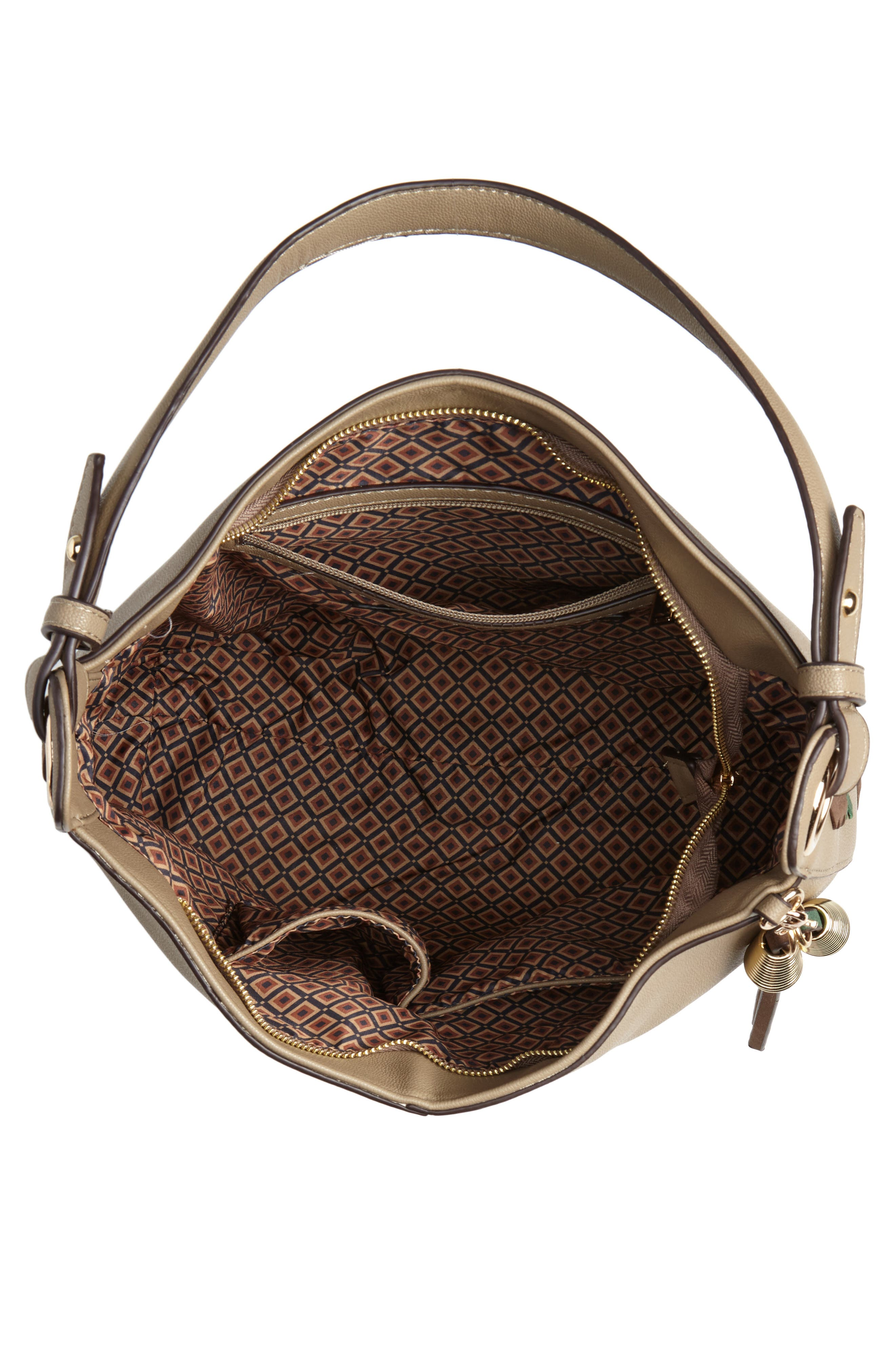 Faux Leather Hobo,                             Alternate thumbnail 4, color,                             TAUPE