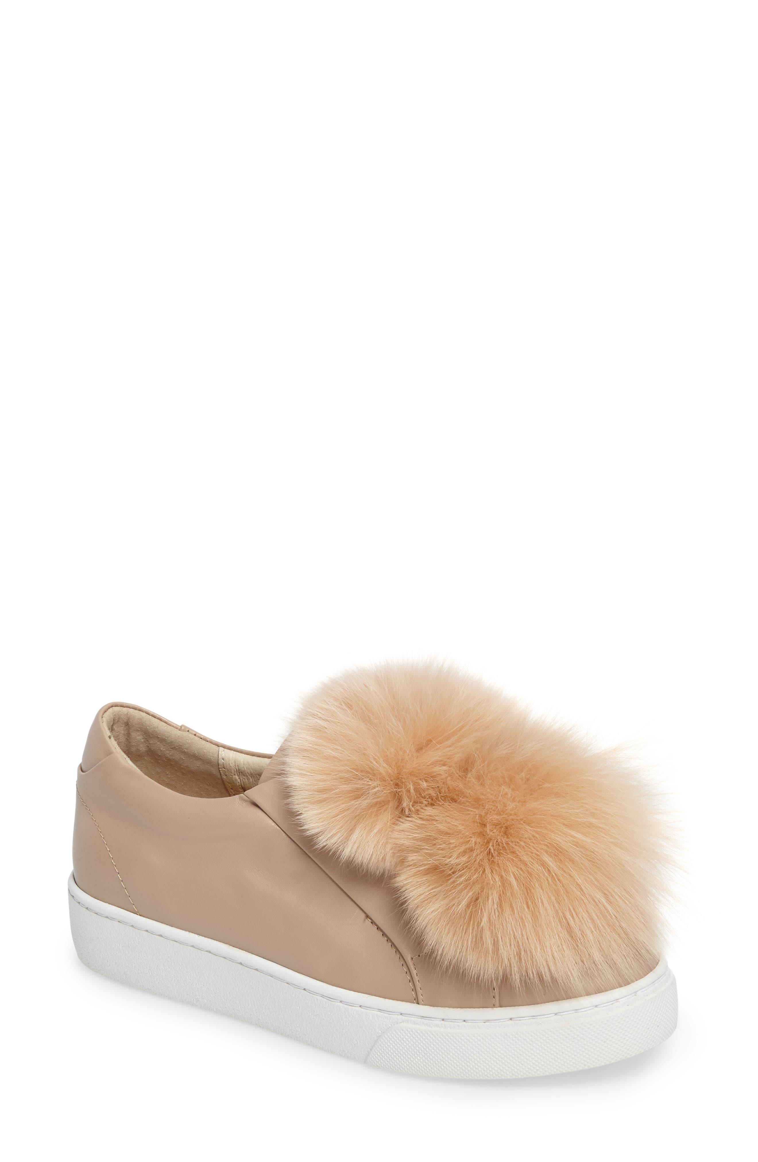 Arian Genuine Fox Fur Trim Sneaker,                         Main,                         color, 250