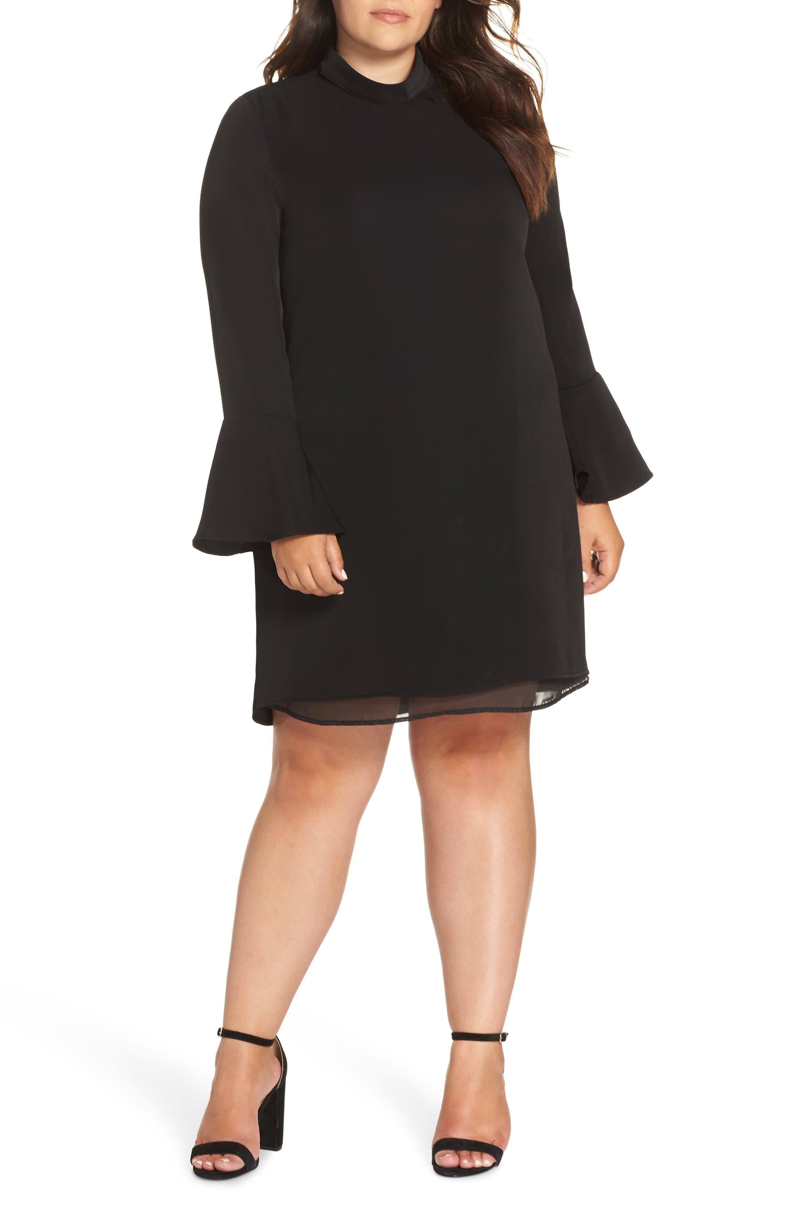 GLAMOROUS Bell Sleeve Shift Dress in Black