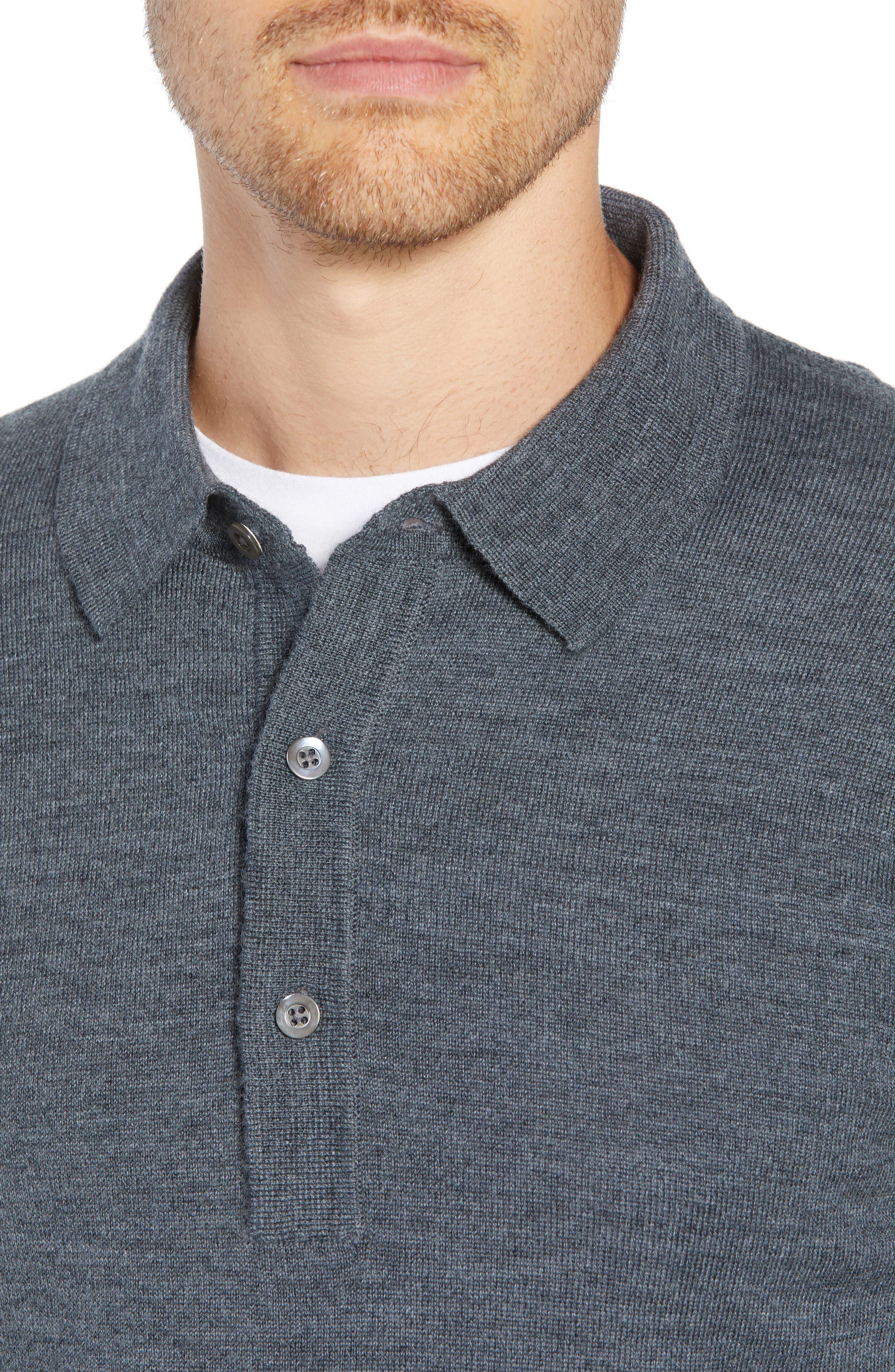 Slim Fit Long Sleeve Merino Wool Polo,                             Alternate thumbnail 4, color,                             HEATHER SLATE