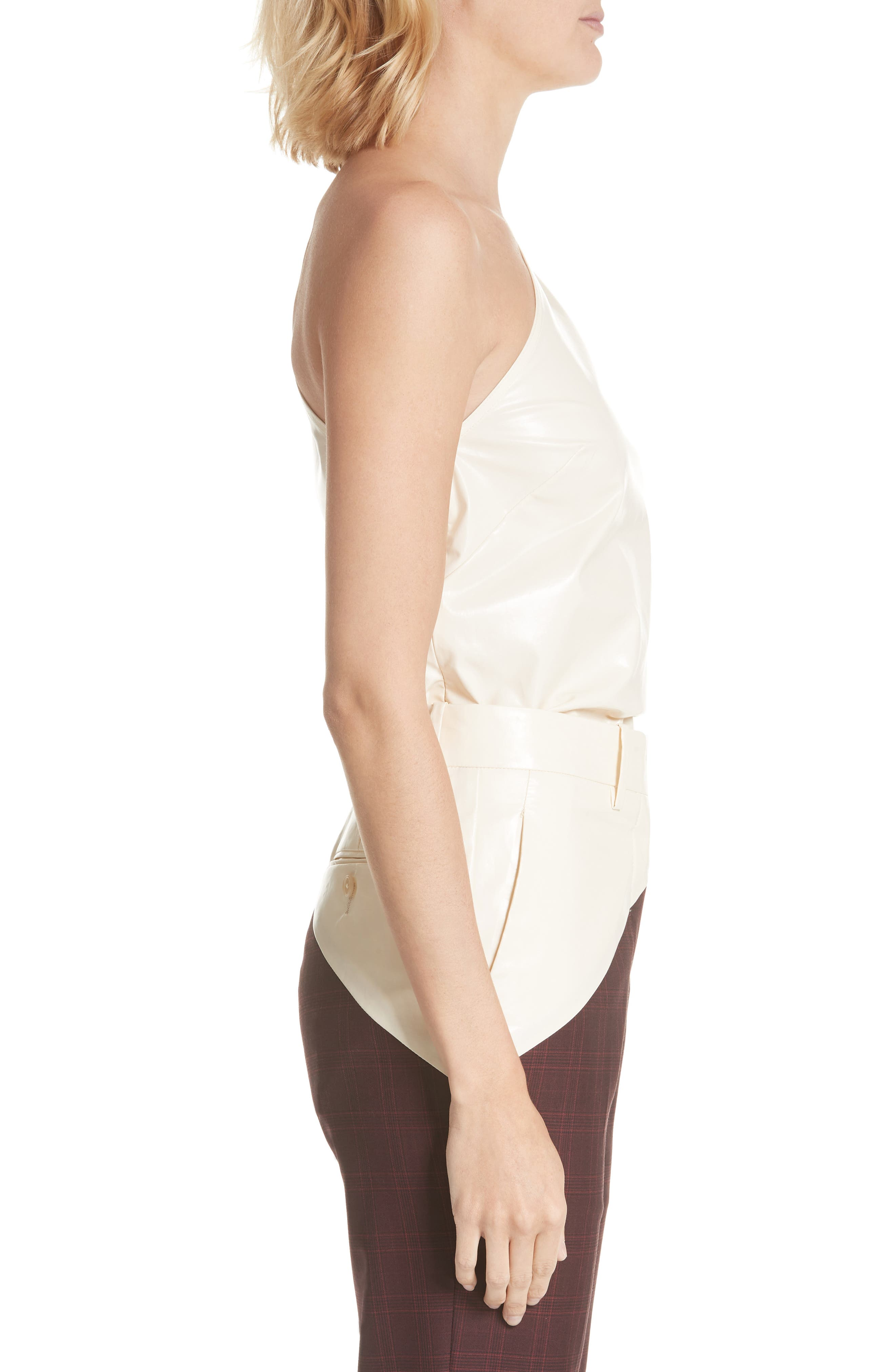 Coated Cotton Asymmetrical Top,                             Alternate thumbnail 3, color,                             CREME