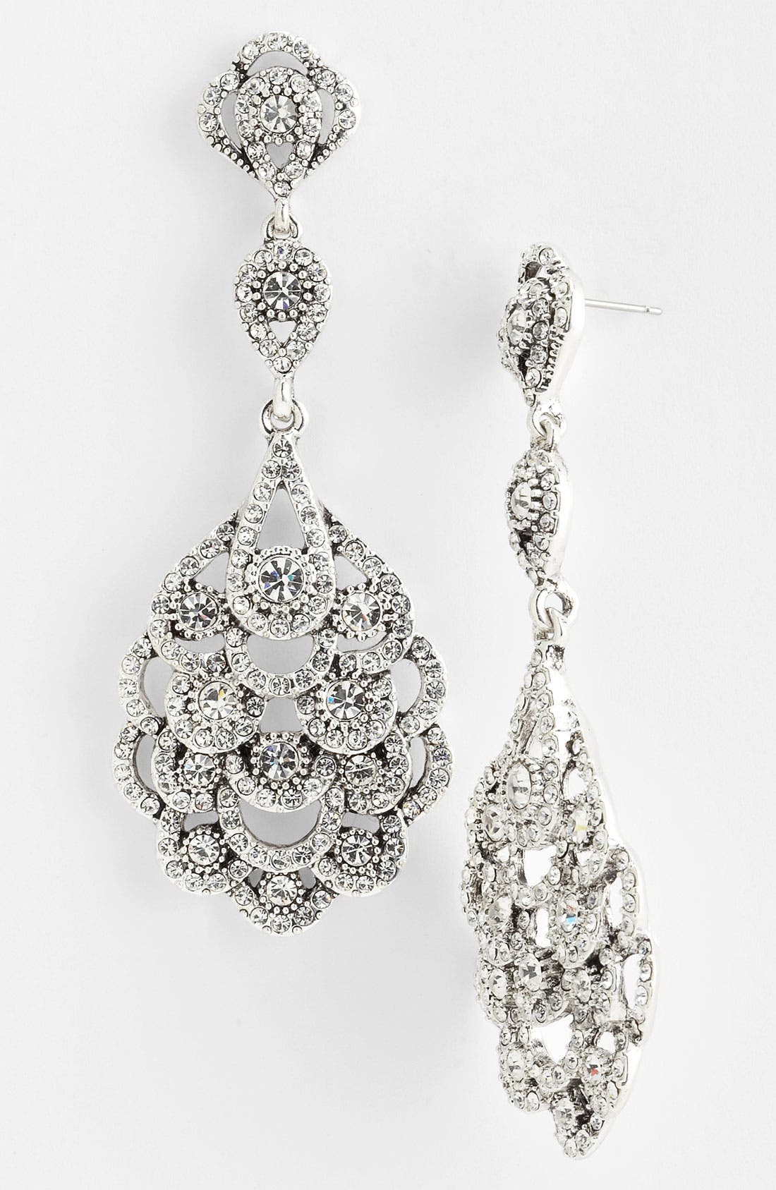 'Eiffel' Statement Drop Earrings,                         Main,                         color, ANTIQUE SILVER/ CLEAR CRYSTAL
