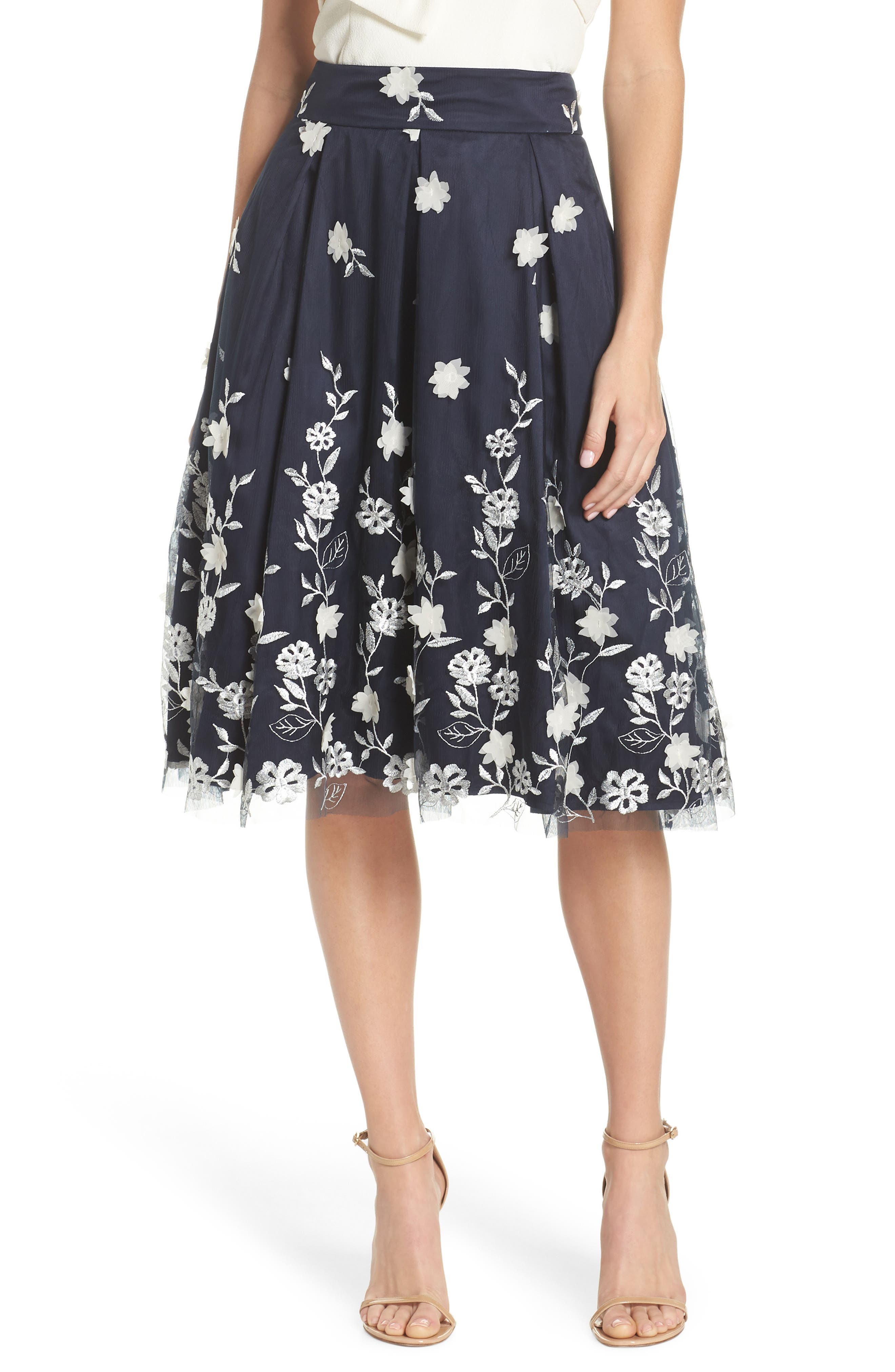 Embroidered A-Line Skirt,                         Main,                         color, NAVY IVORY