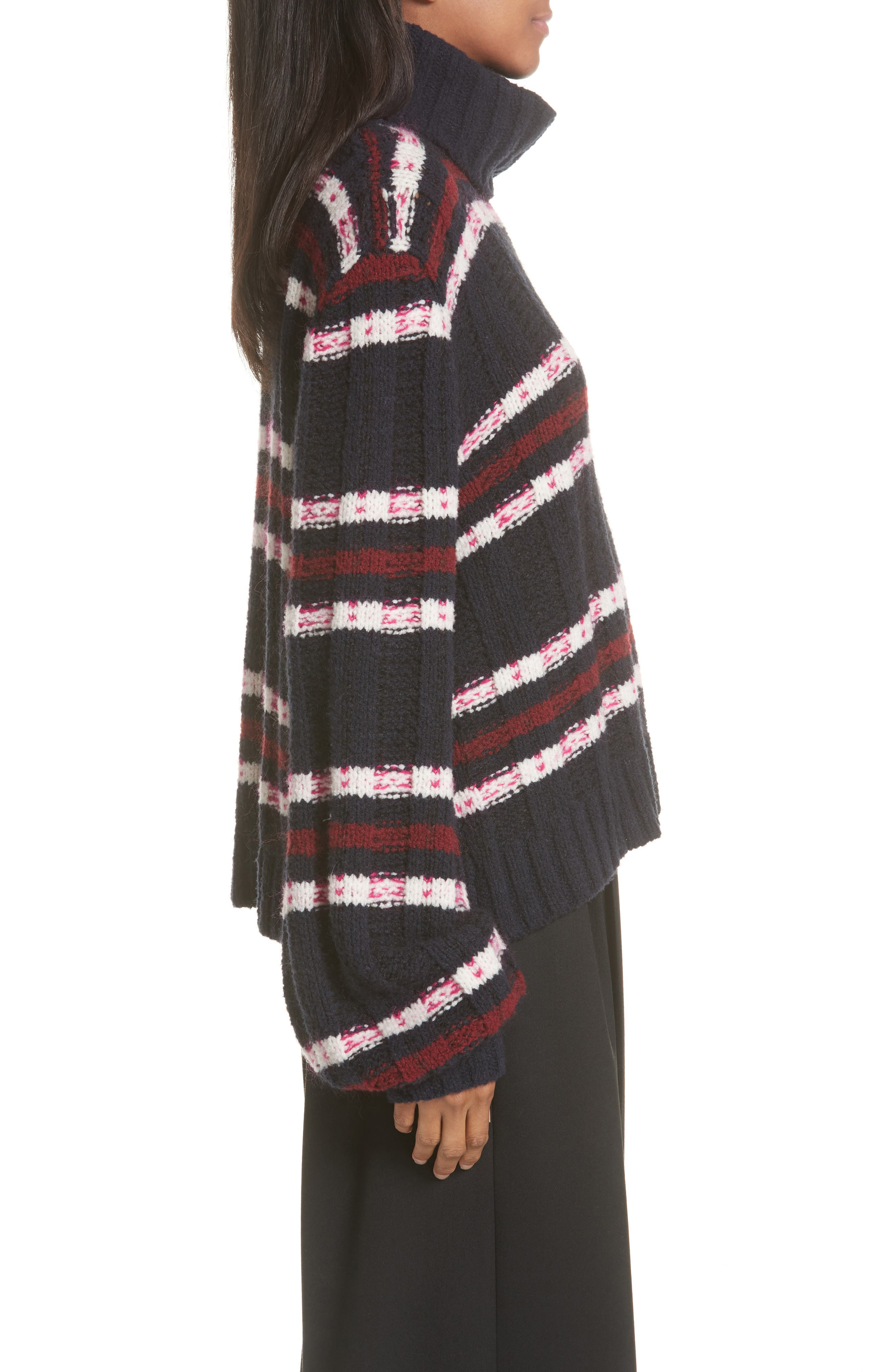Zaira Stripe Turtleneck Sweater,                             Alternate thumbnail 3, color,                             001