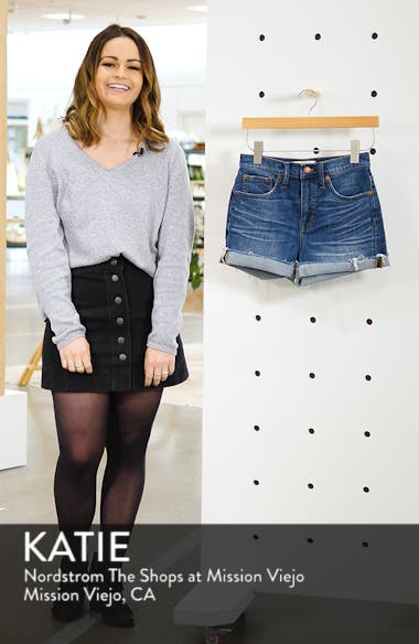High Rise Cuffed Denim Shorts, sales video thumbnail