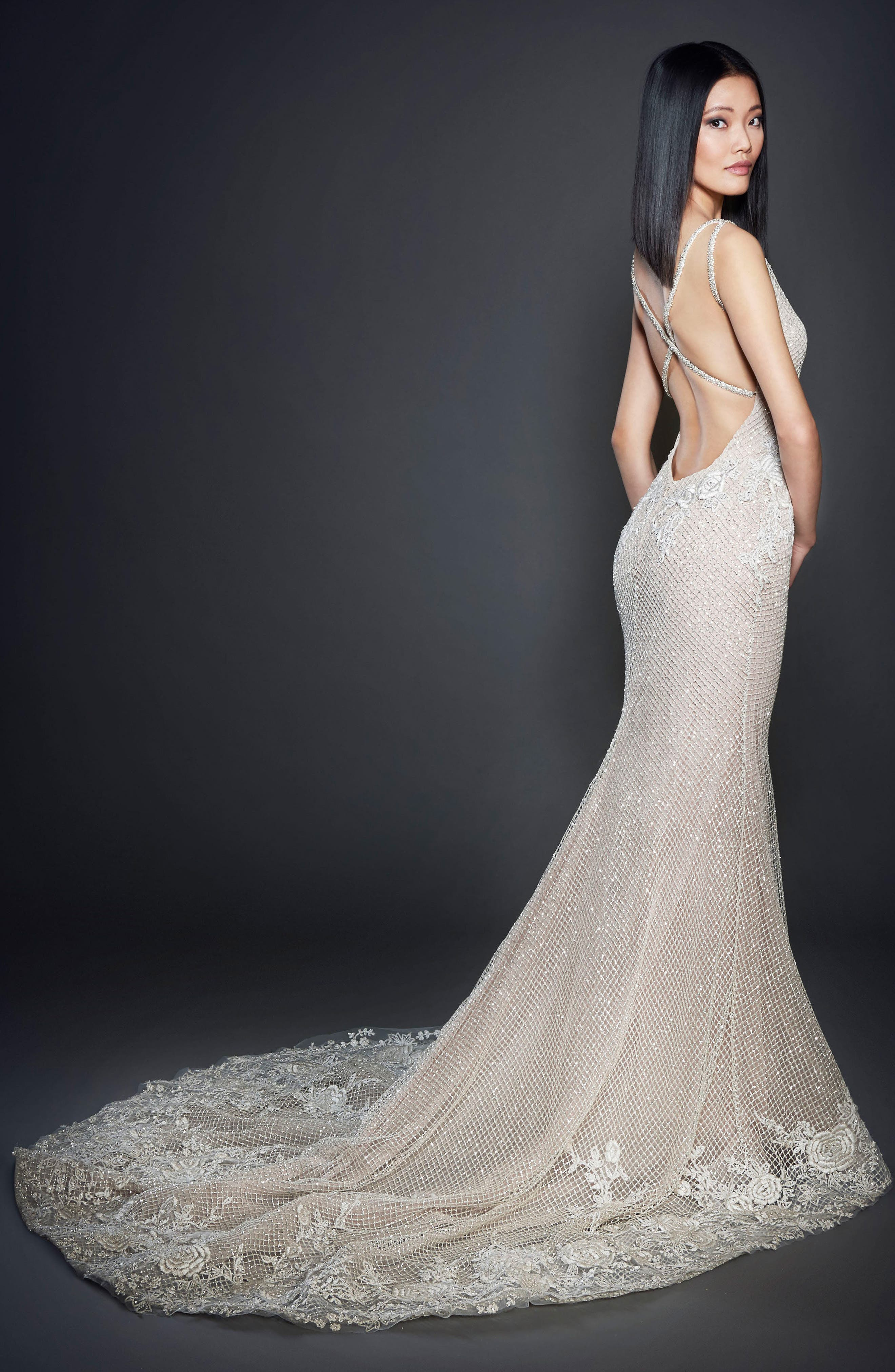 Embellished Check Net Gown,                             Alternate thumbnail 2, color,                             CHAMPAGNE