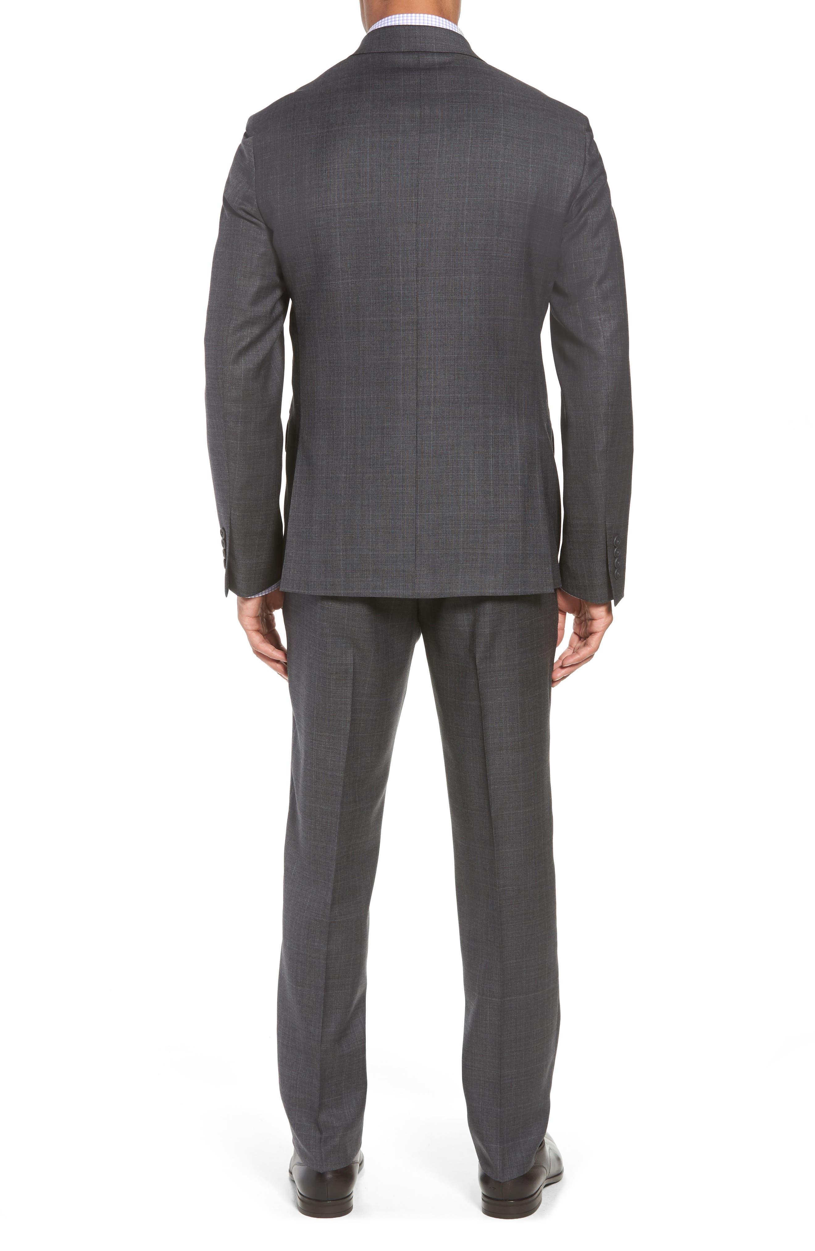 Trim Fit Plaid Wool Suit,                             Alternate thumbnail 2, color,                             010