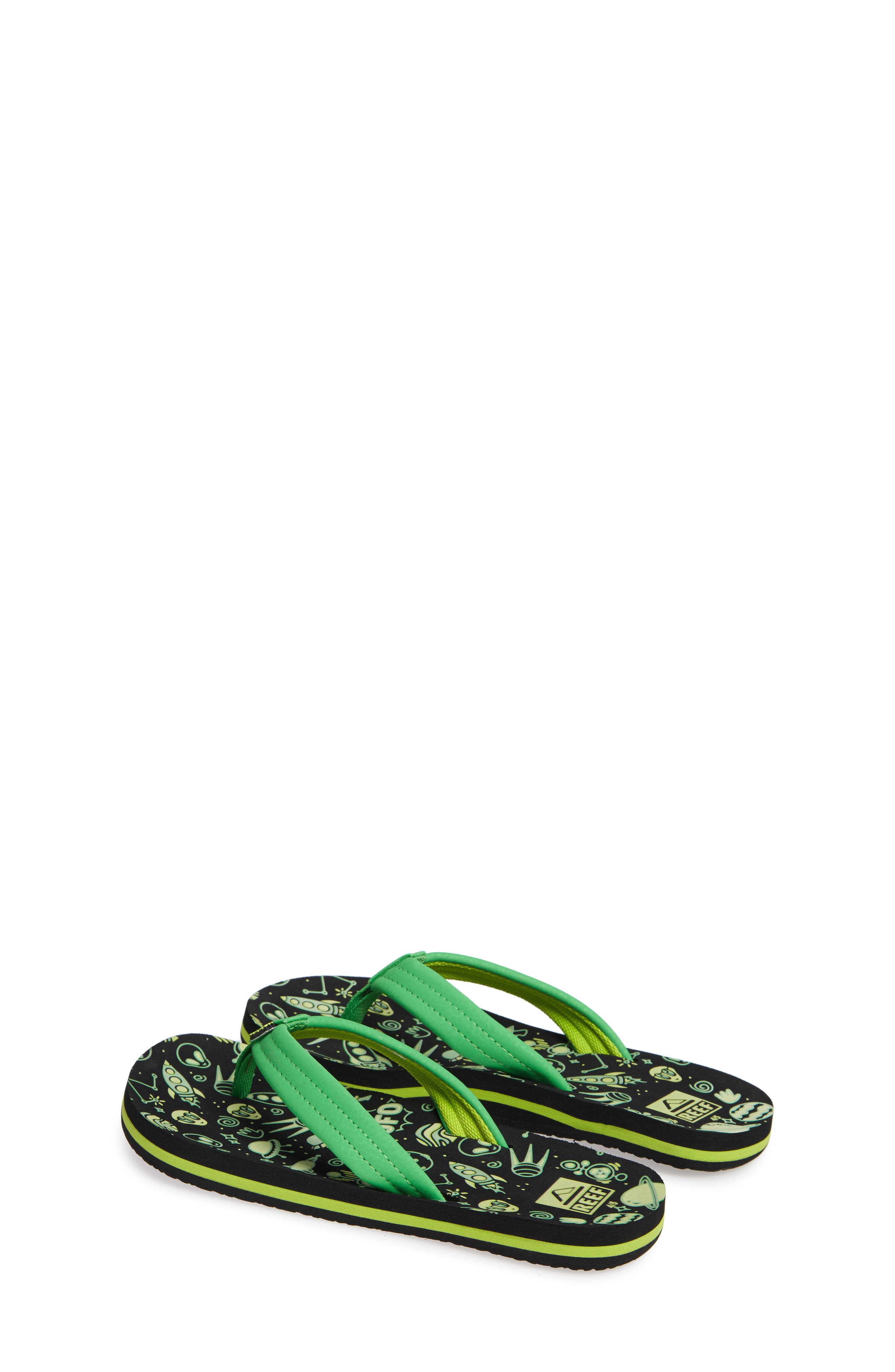 Ahi Glow in the Dark Flip Flop,                             Alternate thumbnail 3, color,                             GREEN