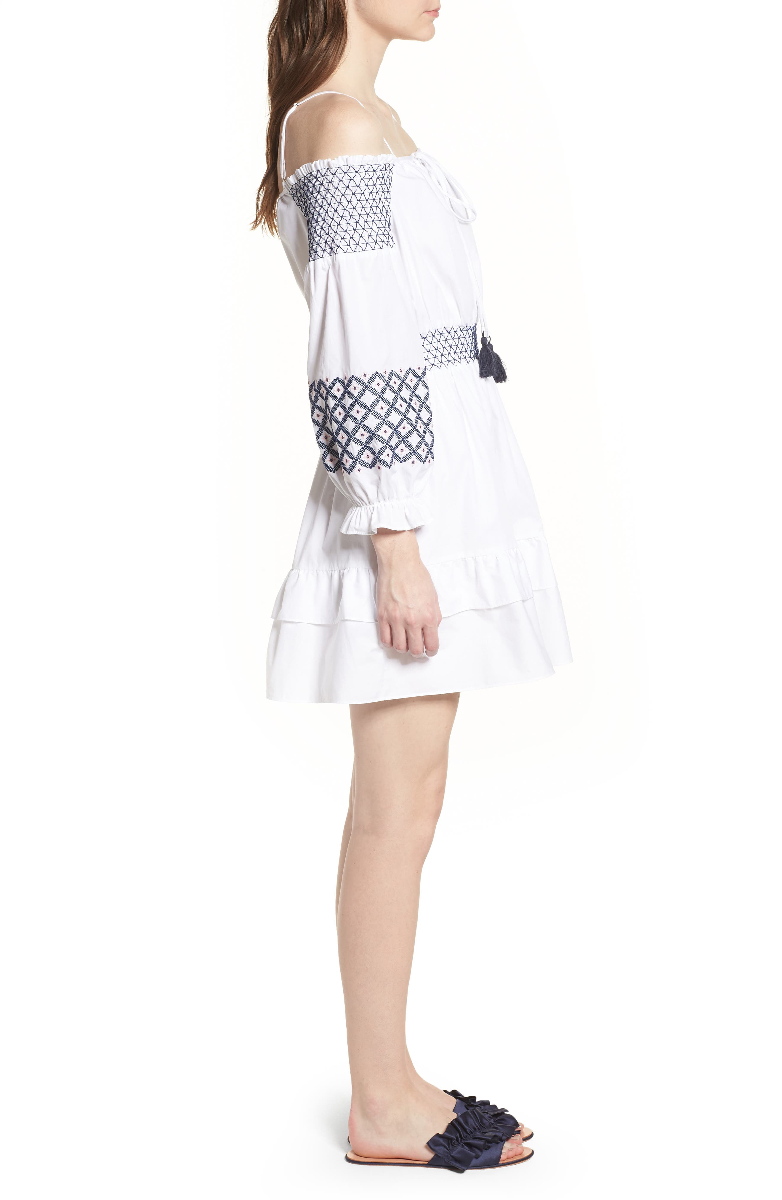 Brittany Embroidered Cold Shoulder Dress,                             Alternate thumbnail 3, color,                             100