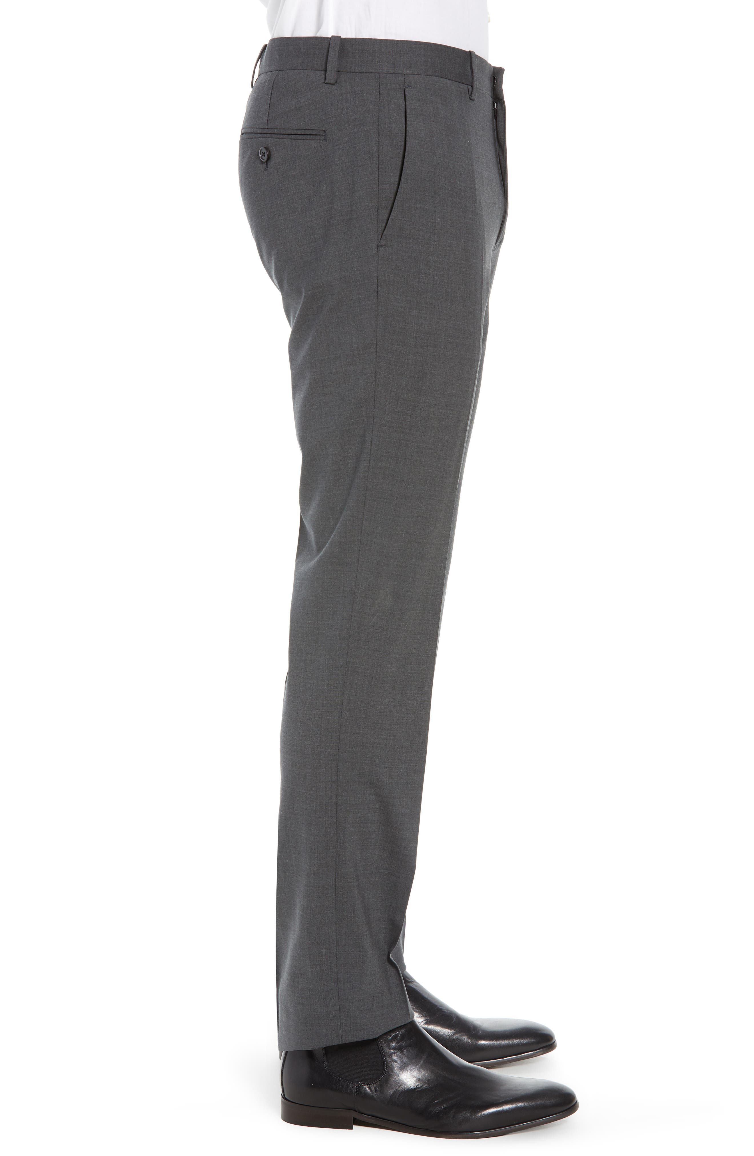 Mayer New Tailor 2 Wool Trousers,                             Alternate thumbnail 3, color,                             CHARCOAL