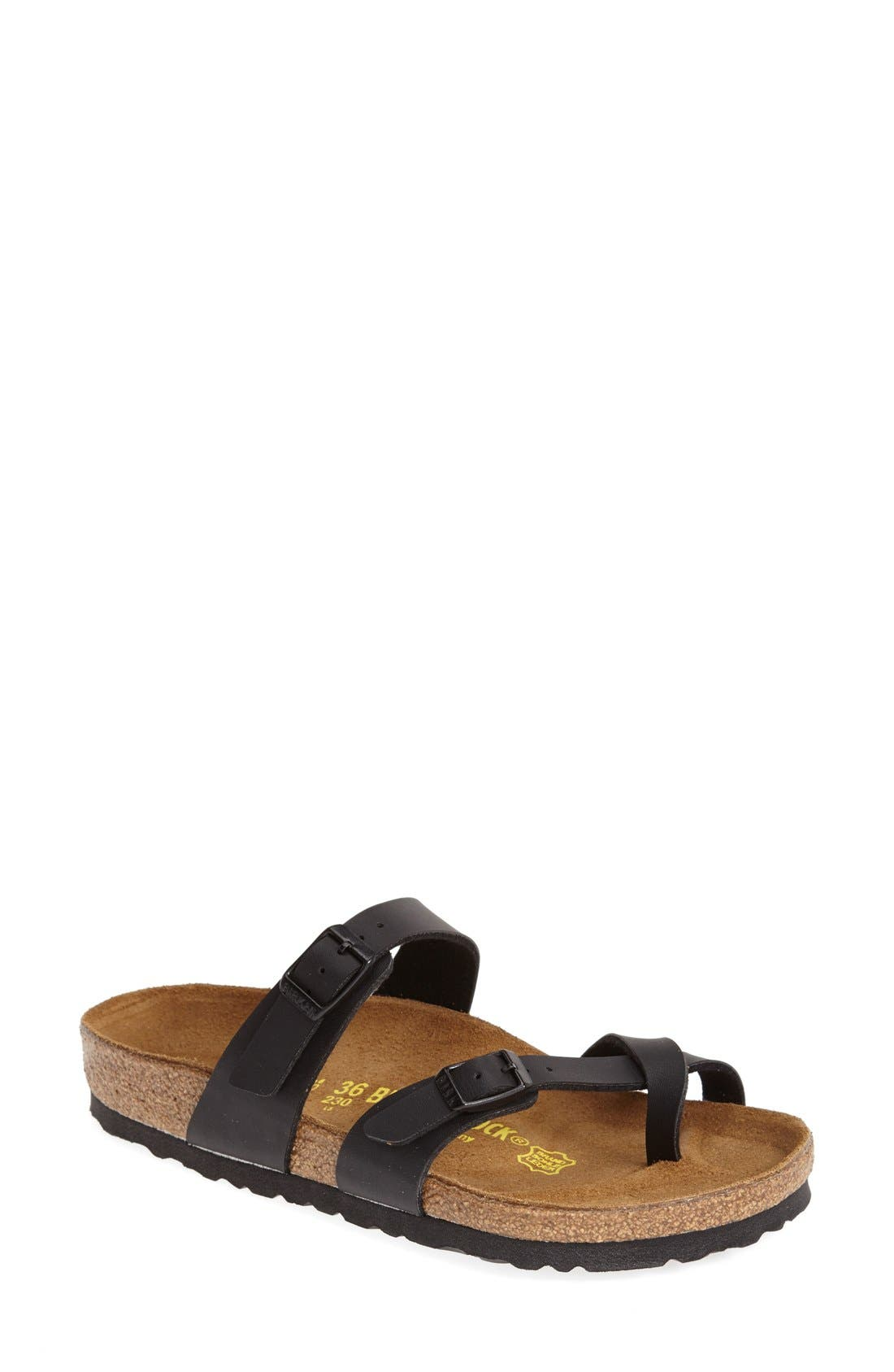 Mayari Birko-Flor Sandal,                             Main thumbnail 1, color,                             BLACK
