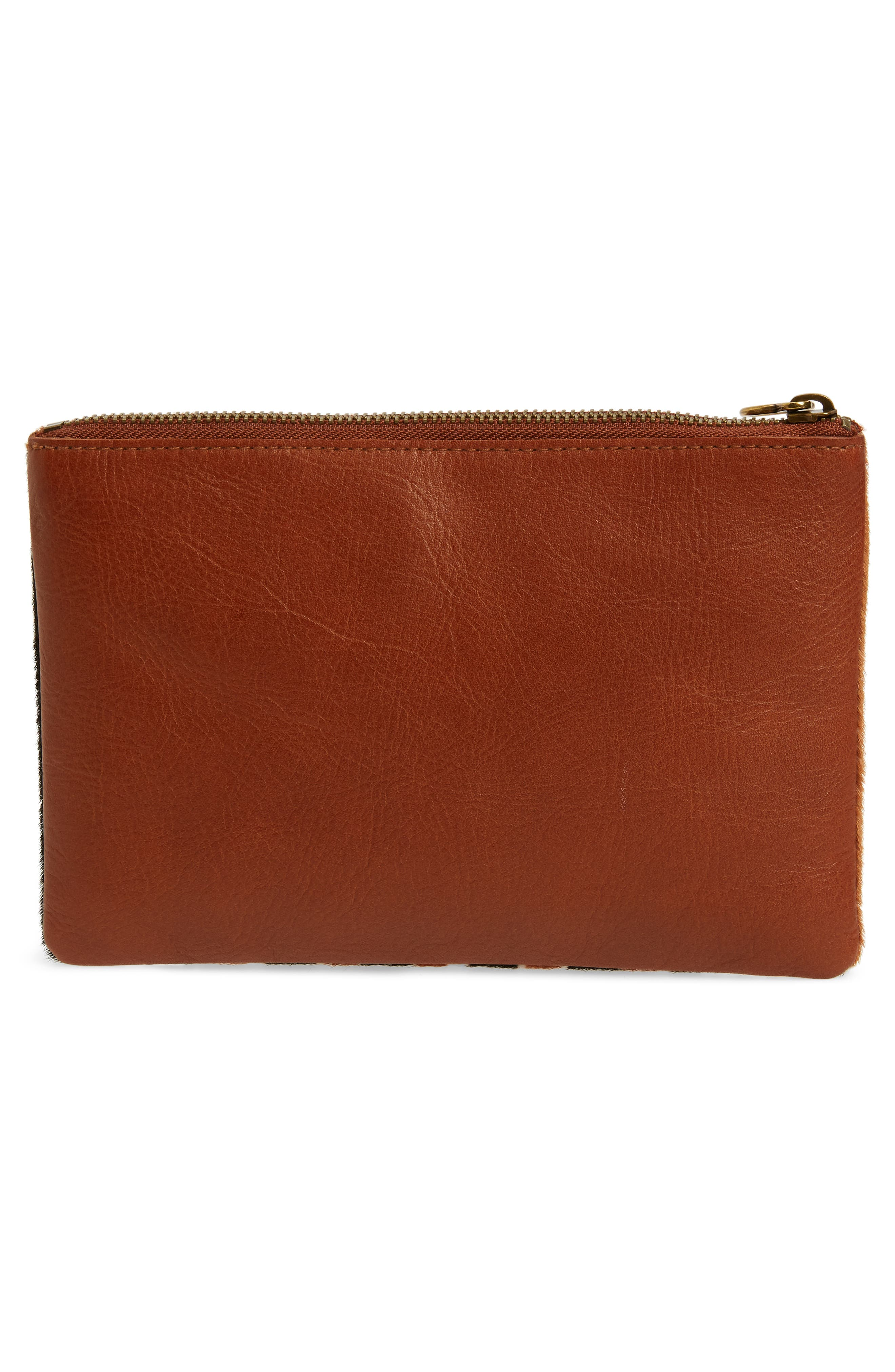The Leather Pouch Clutch in Genuine Calf Hair,                             Alternate thumbnail 3, color,                             ACORN MULTI