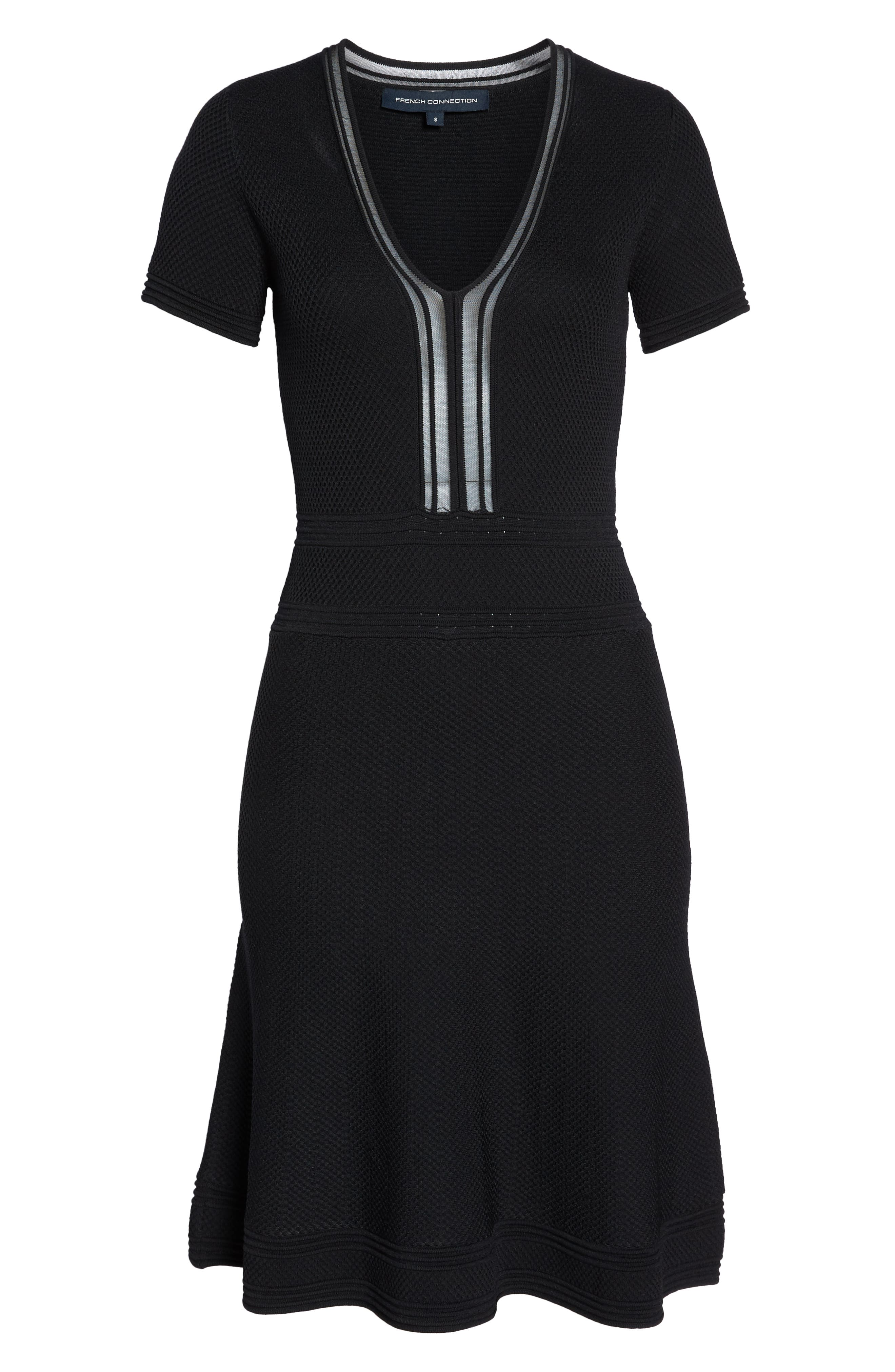 Ellie Knits V-Neck Fit & Flare Dress,                             Alternate thumbnail 7, color,                             BLACK