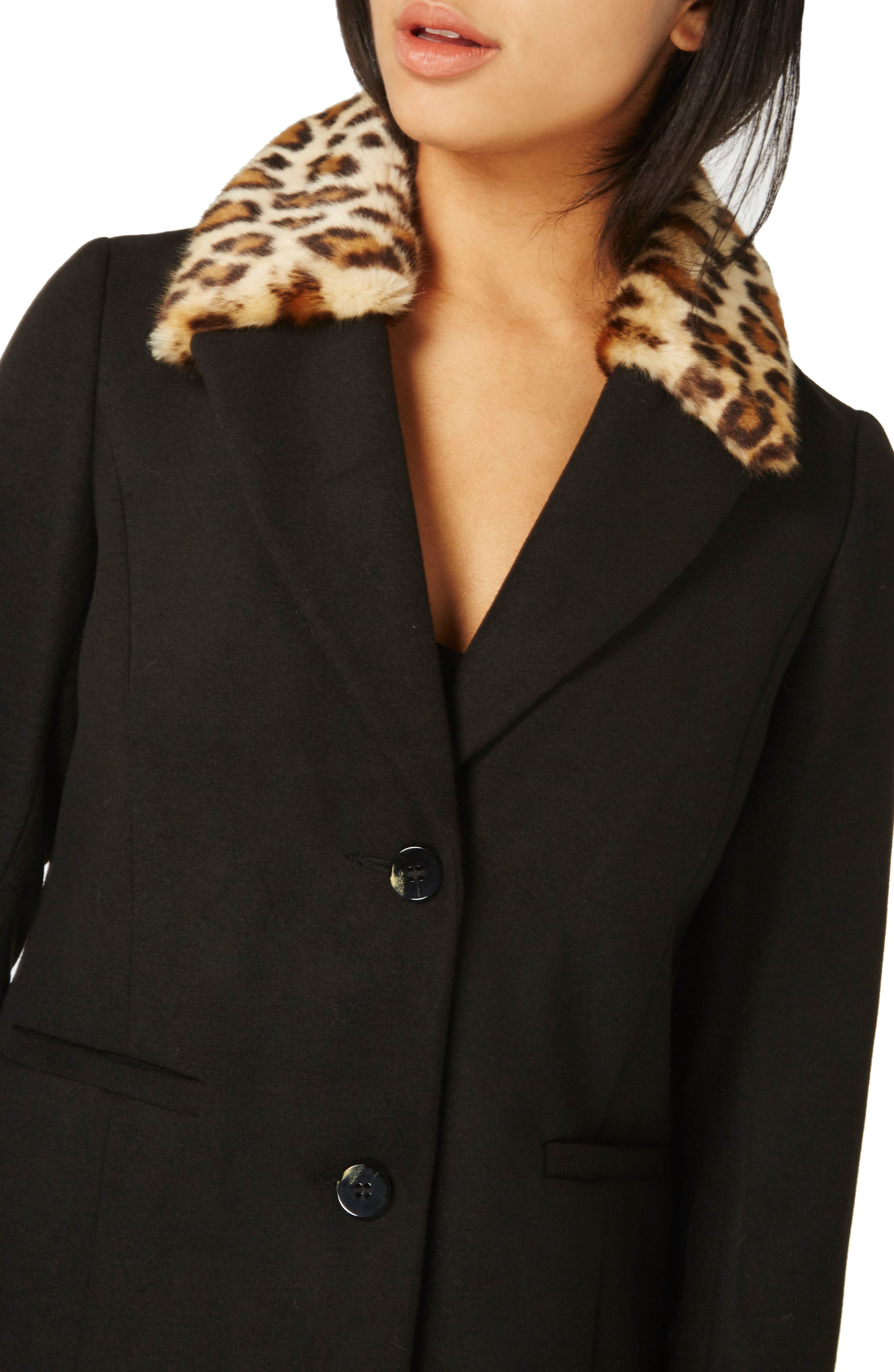 Coat with Faux Fur Collar,                             Alternate thumbnail 7, color,
