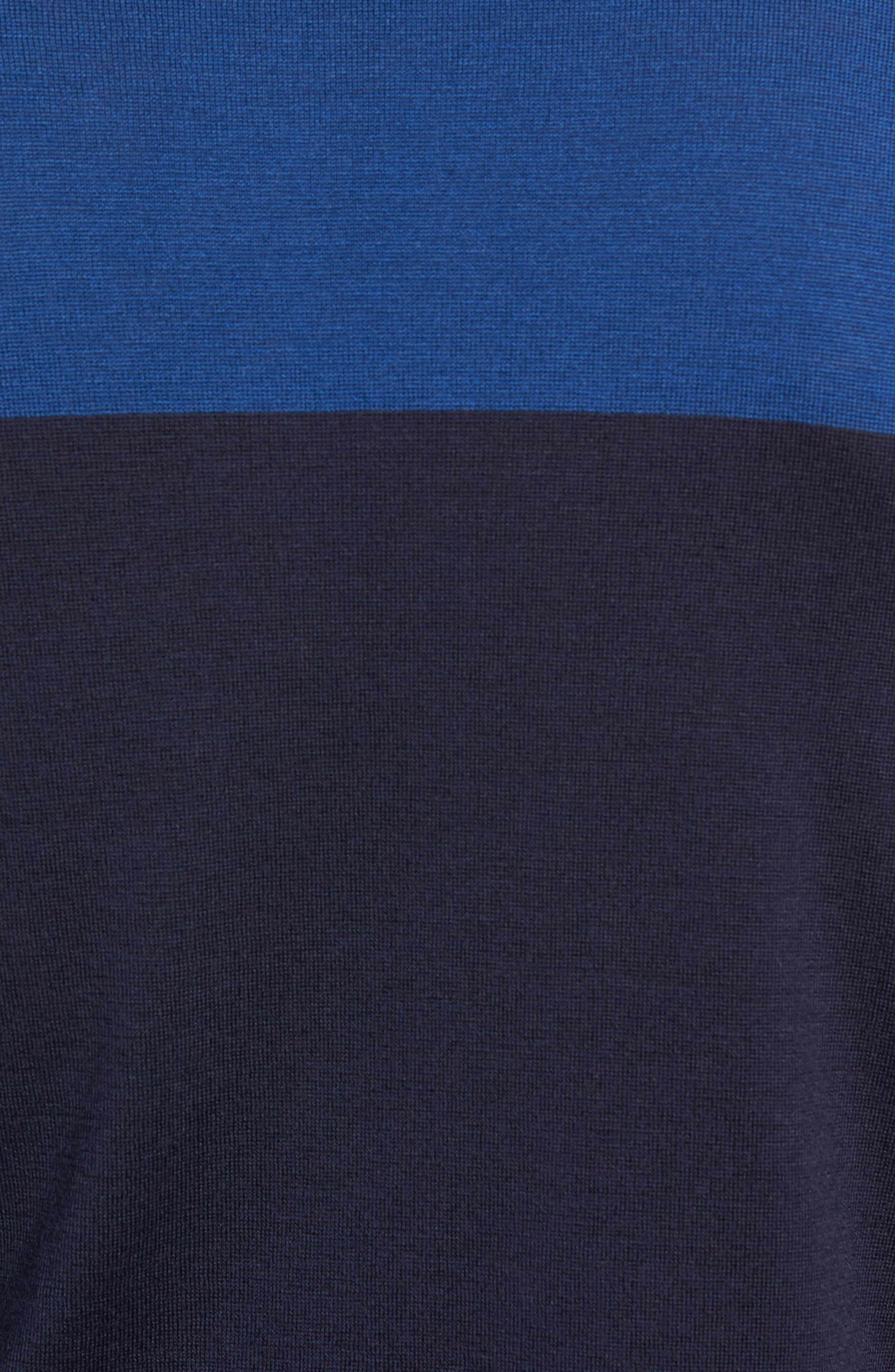 Slim Fit Colorblock Merino Wool Turtleneck Sweater,                             Alternate thumbnail 5, color,                             MIDNIGHT