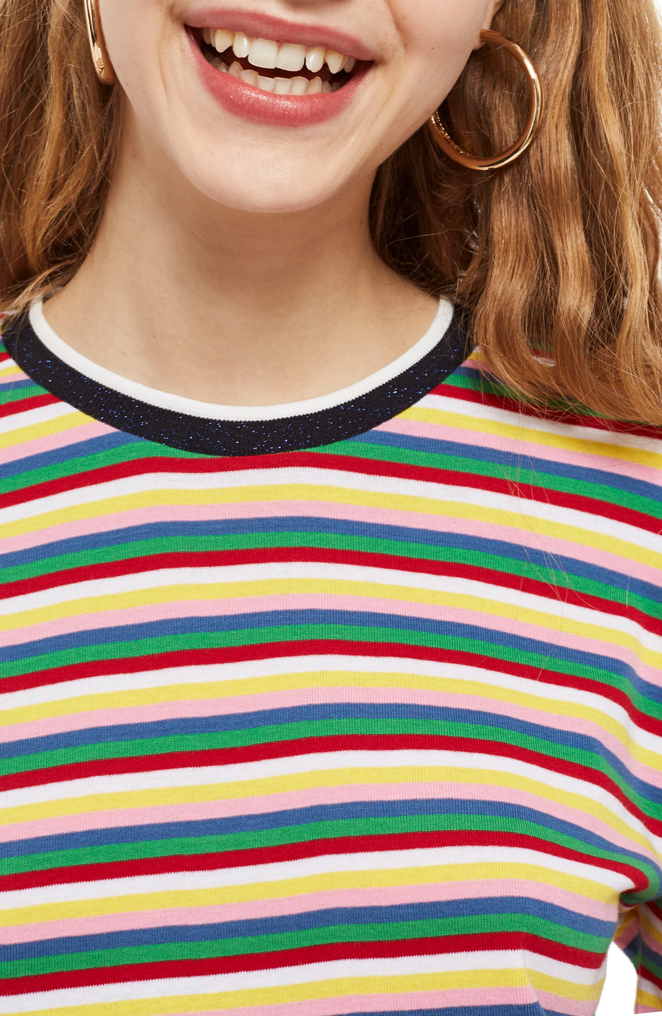 Rainbow Stripe Cotton Pullover,                             Alternate thumbnail 3, color,                             401