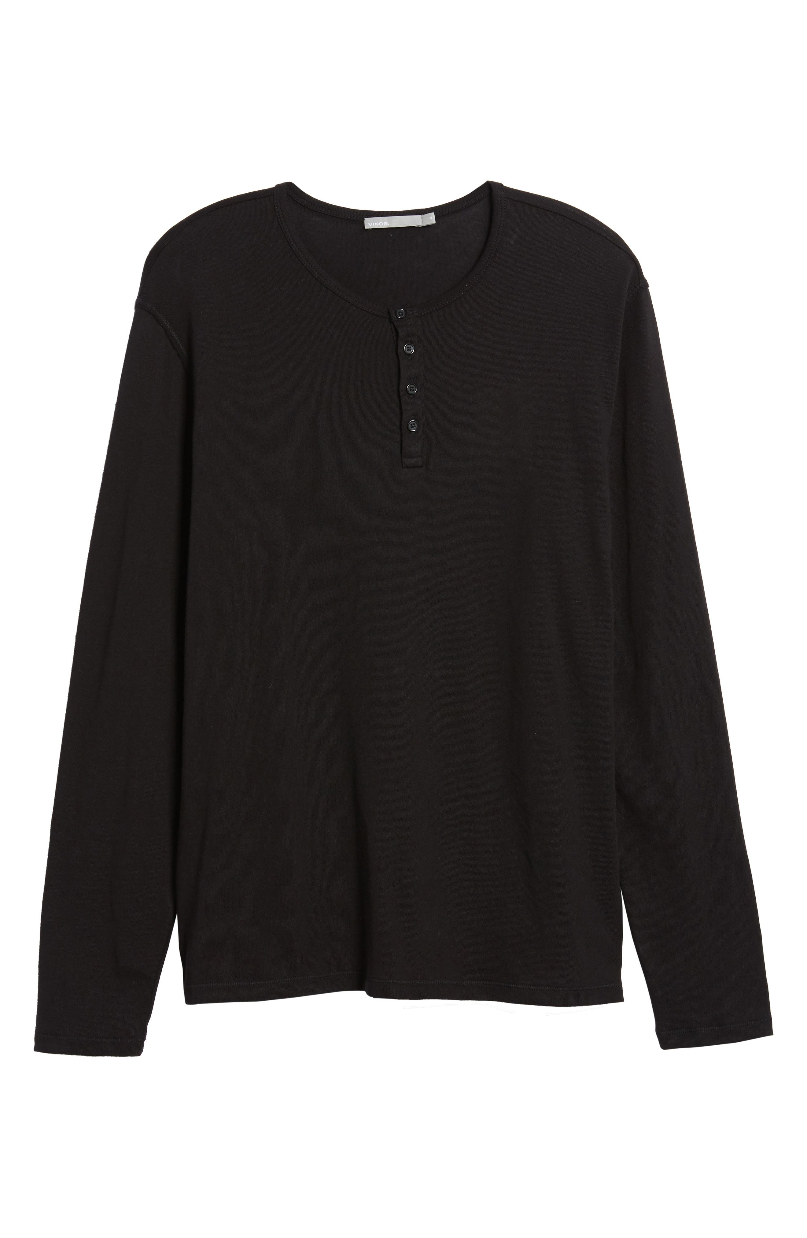 Raw Edge Long Sleeve Henley T-Shirt,                             Alternate thumbnail 6, color,                             001