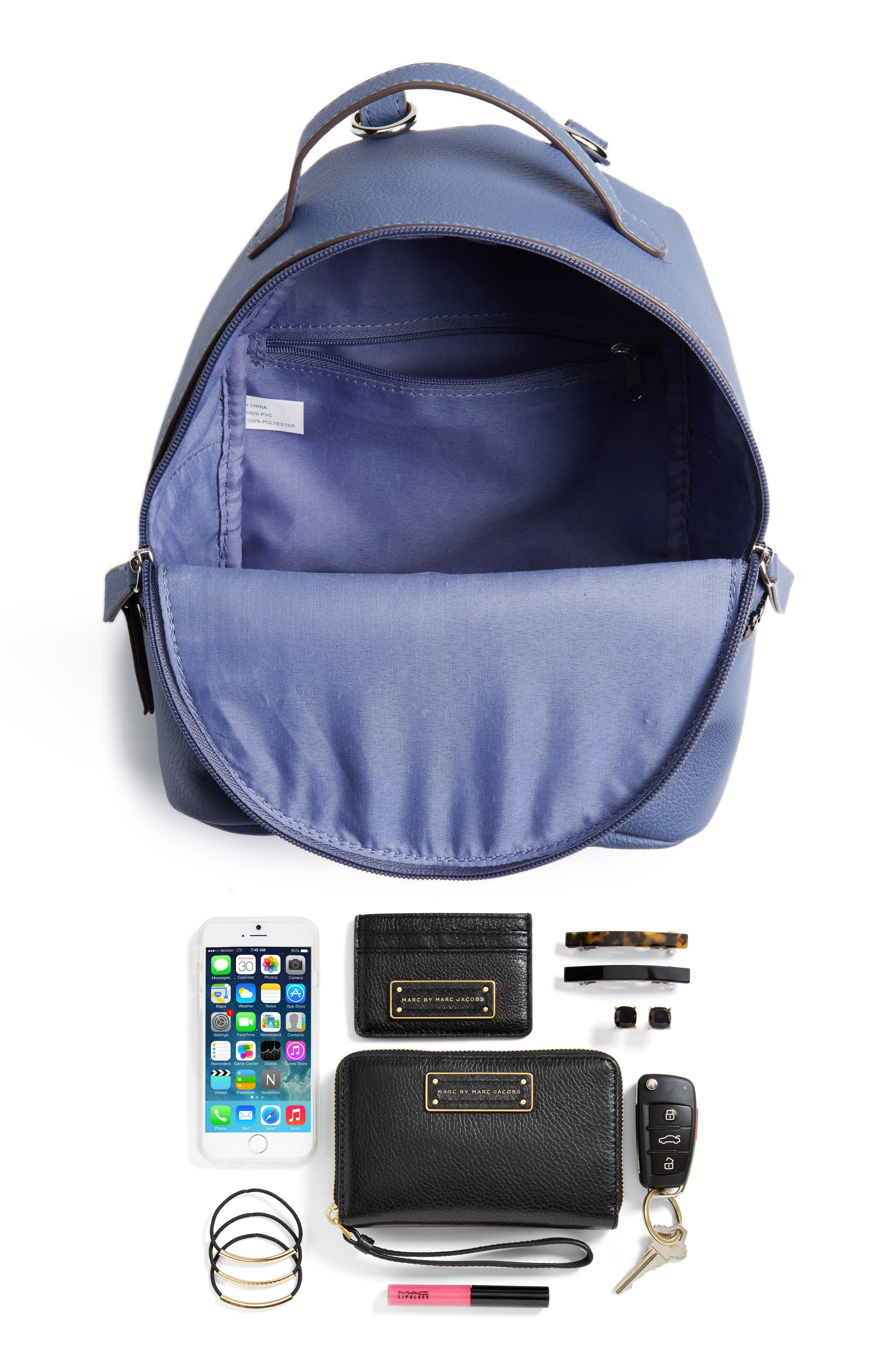 Textured Faux Leather Mini Backpack,                             Alternate thumbnail 3, color,                             400