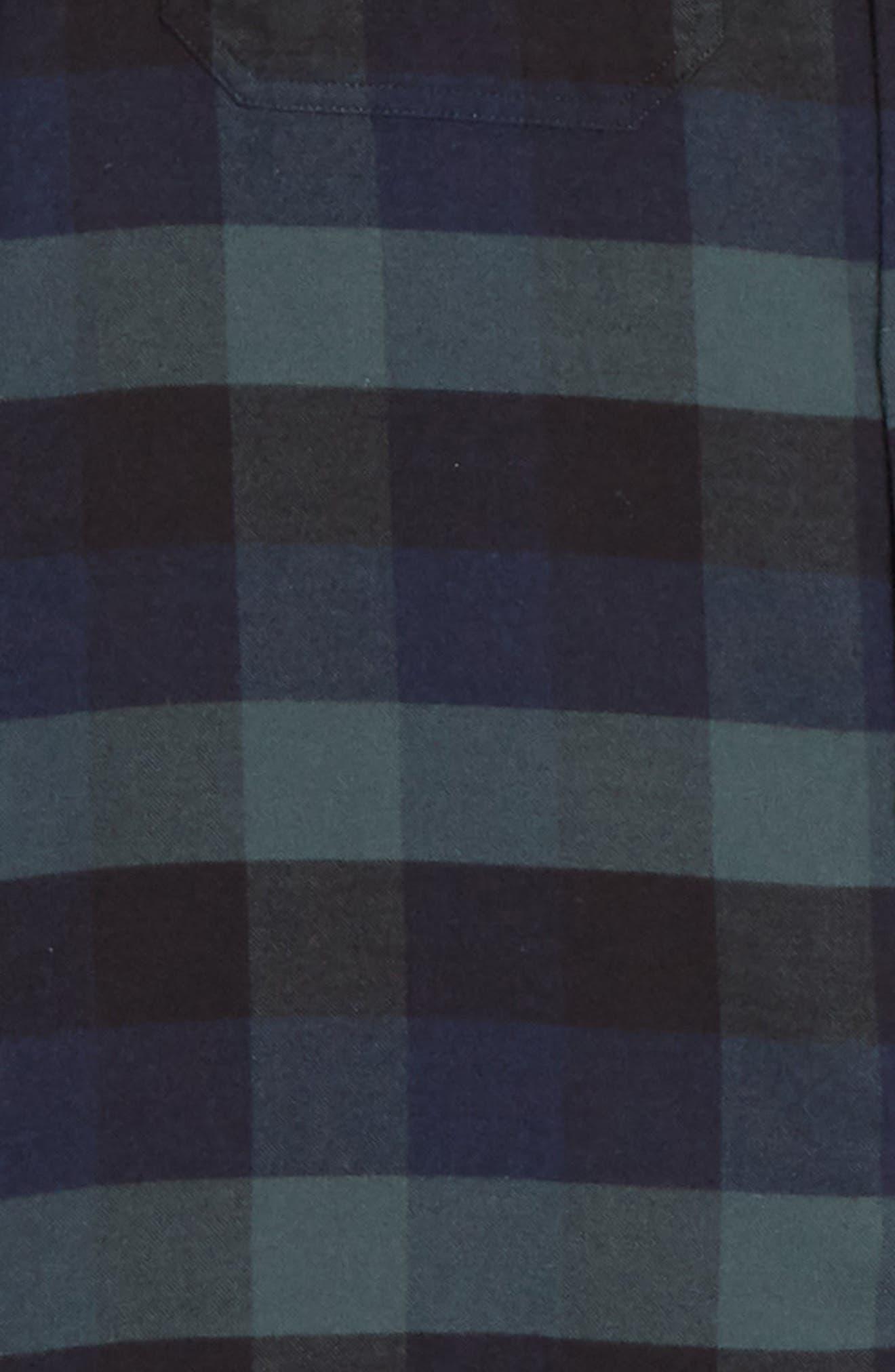 Villads Check Brushed Flannel Shirt,                             Alternate thumbnail 6, color,                             DARK NAVY