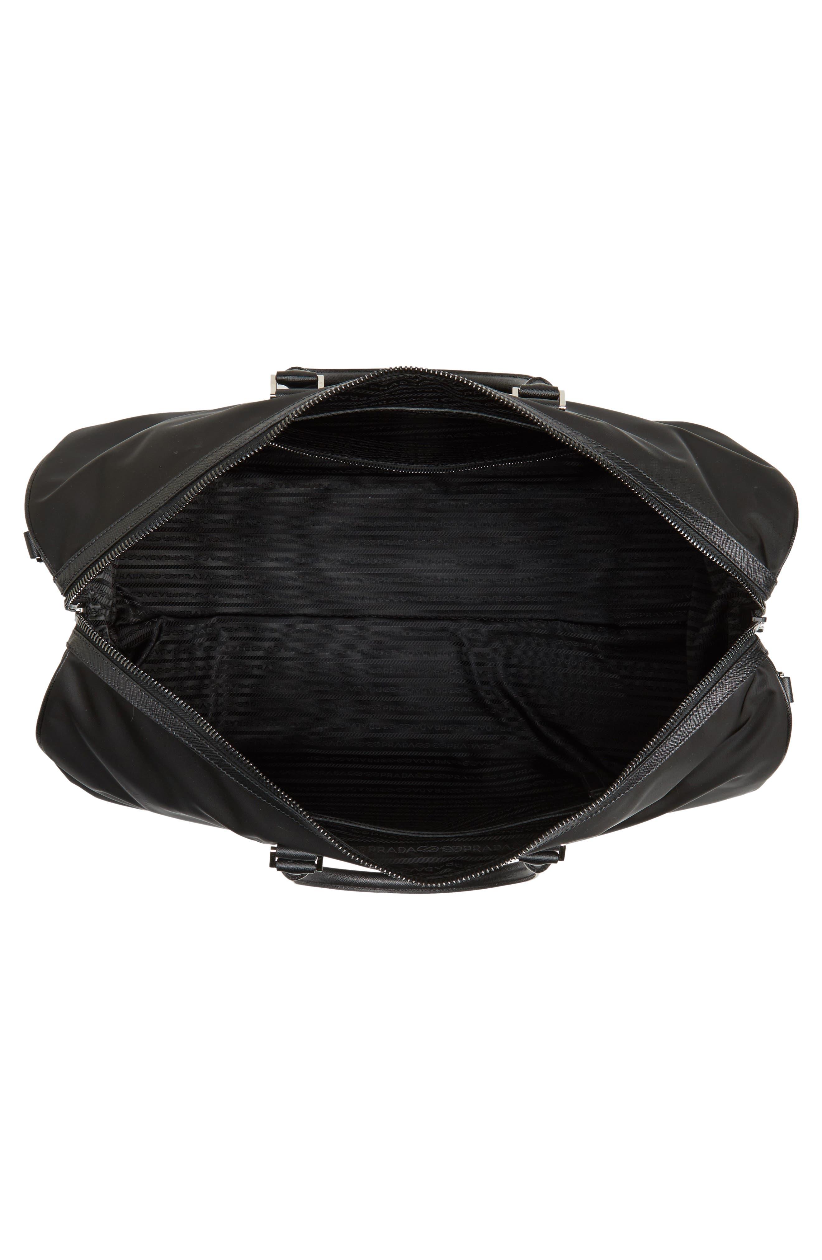 Nylon & Saffiano Leather Bowling Bag,                             Alternate thumbnail 4, color,                             001