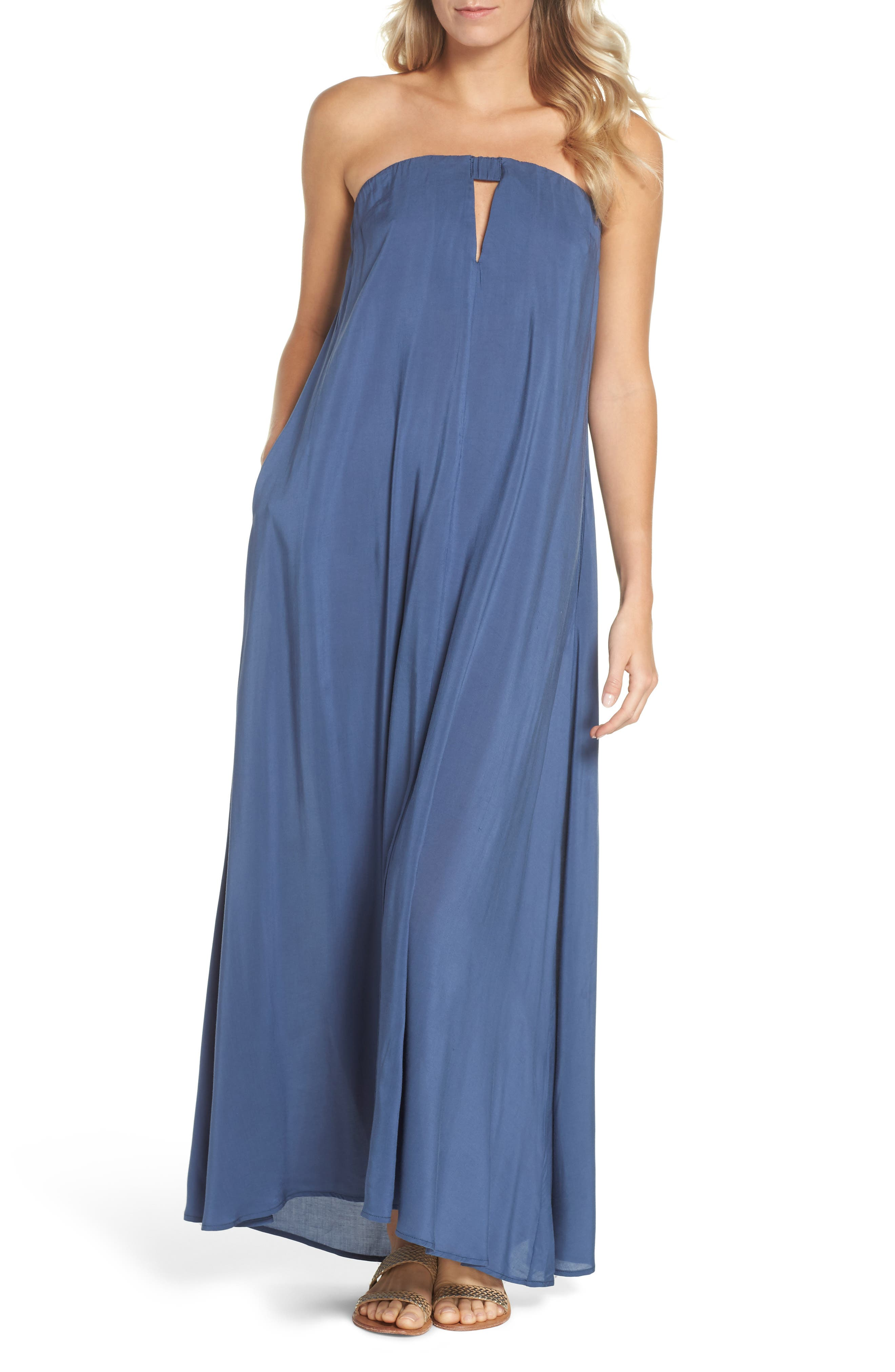 Strapless Keyhole Cover-Up Maxi Dress,                             Main thumbnail 1, color,                             462