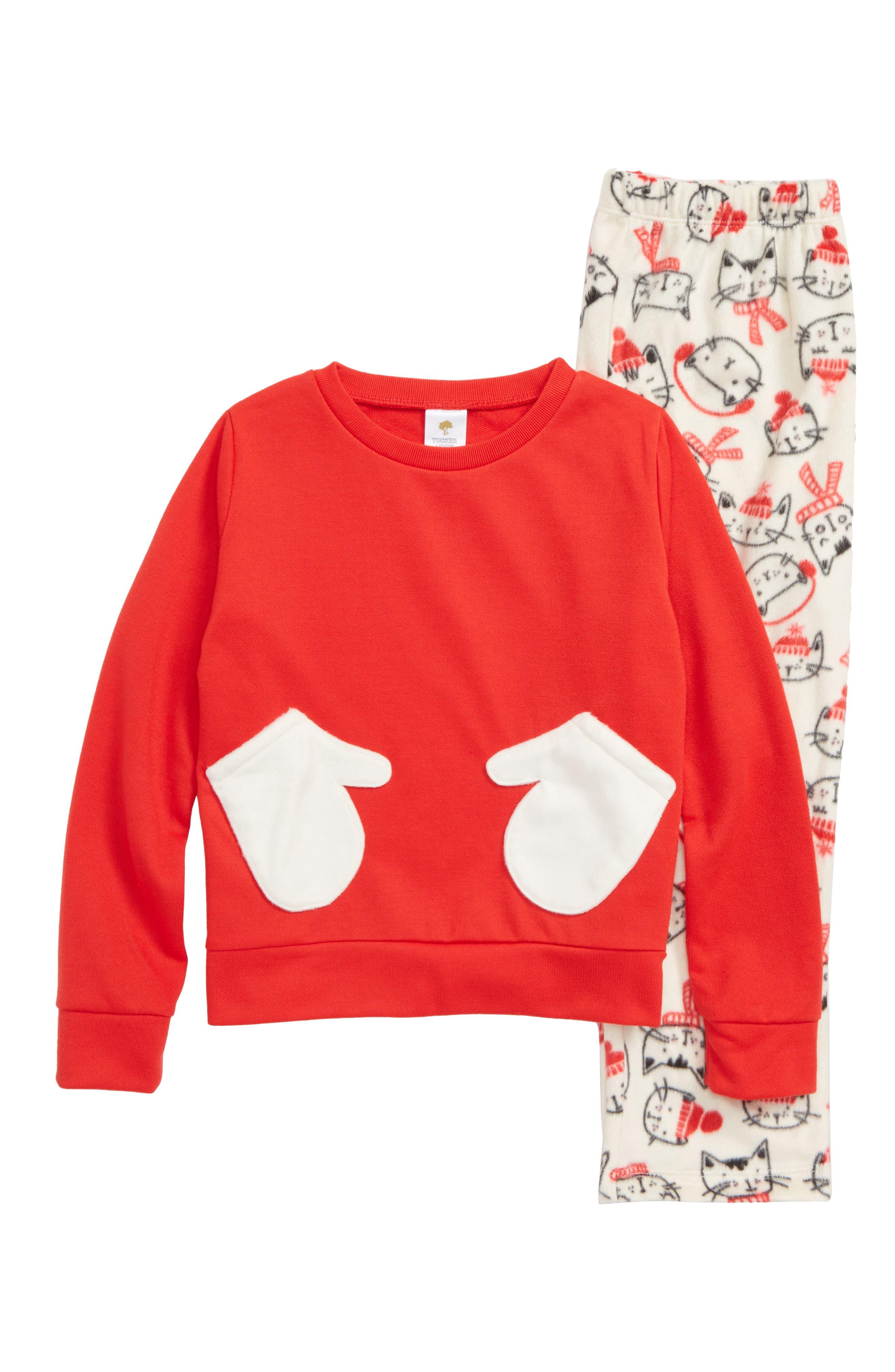Plush Two-Piece Pajamas,                             Main thumbnail 1, color,                             IVORY EGRET COZY CATS