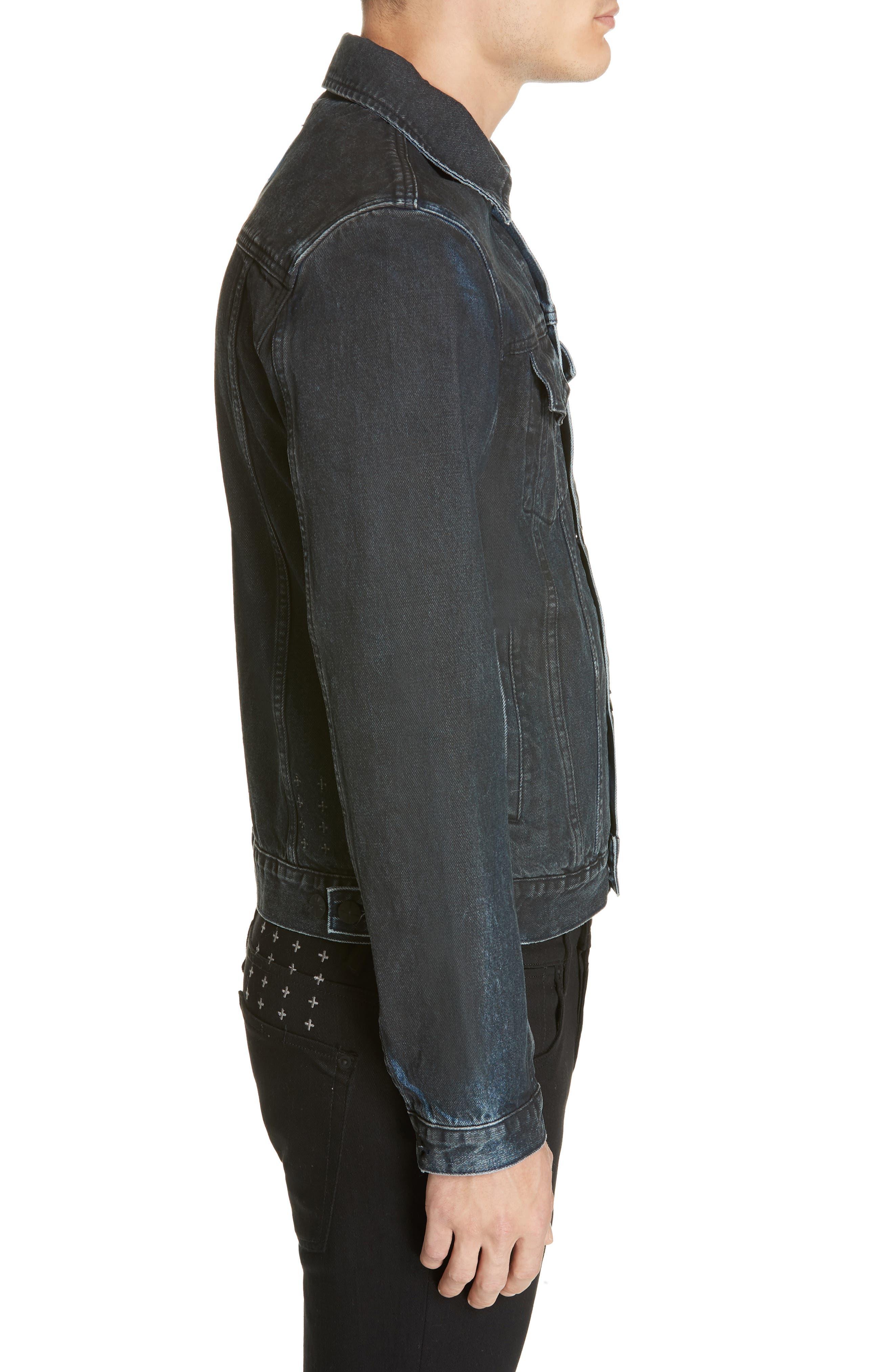 KSUBI,                             Classic Denim Jacket,                             Alternate thumbnail 3, color,                             BLACK TOP